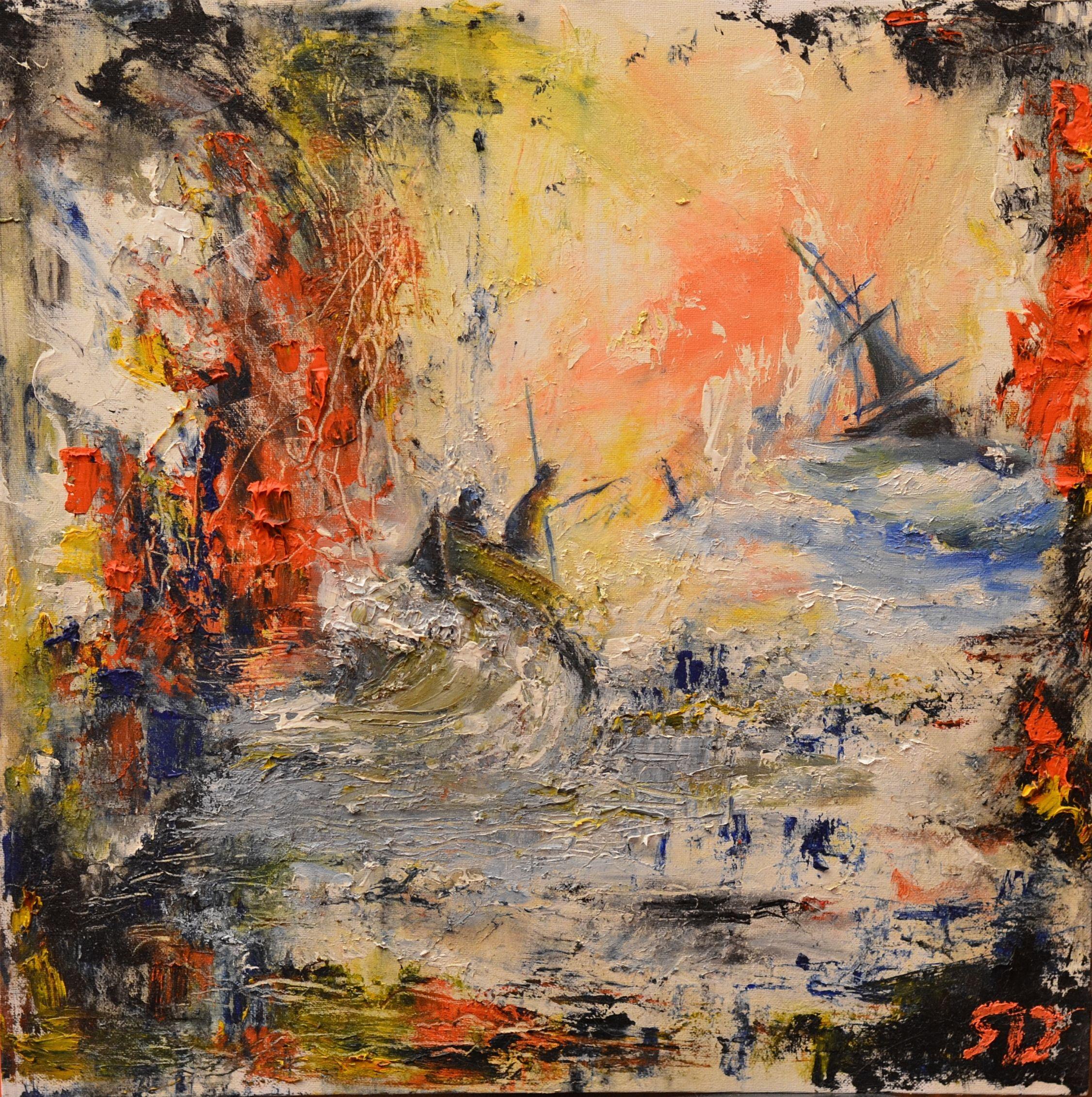 art абстракция корабль заказ художник арт море масло картина