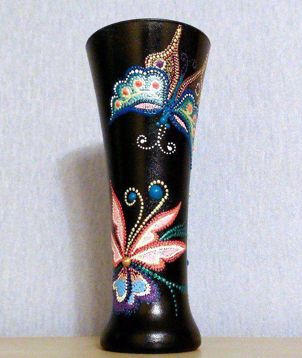 ручнаяработа подарок декоративнаятарелка декор фантазия точечнаяроспись ваза бабочки handmade
