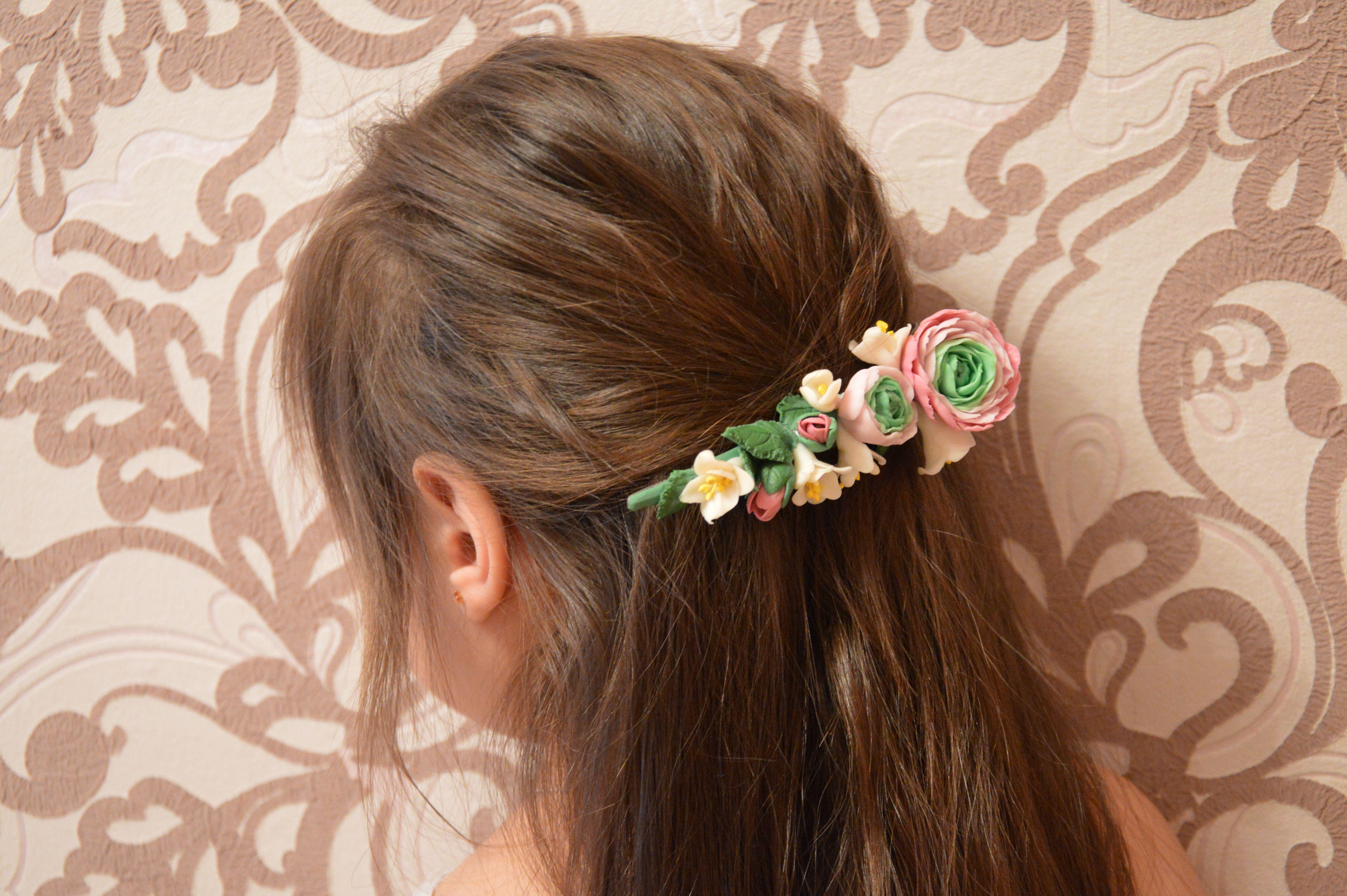 заколка прическа цветы полимернаяглина украшние свадьба