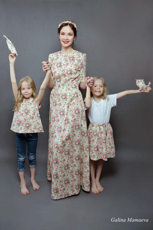 наряд показ мод модели американский принт цветочный хлопок одежда детская туника ткани натуральные family look платье