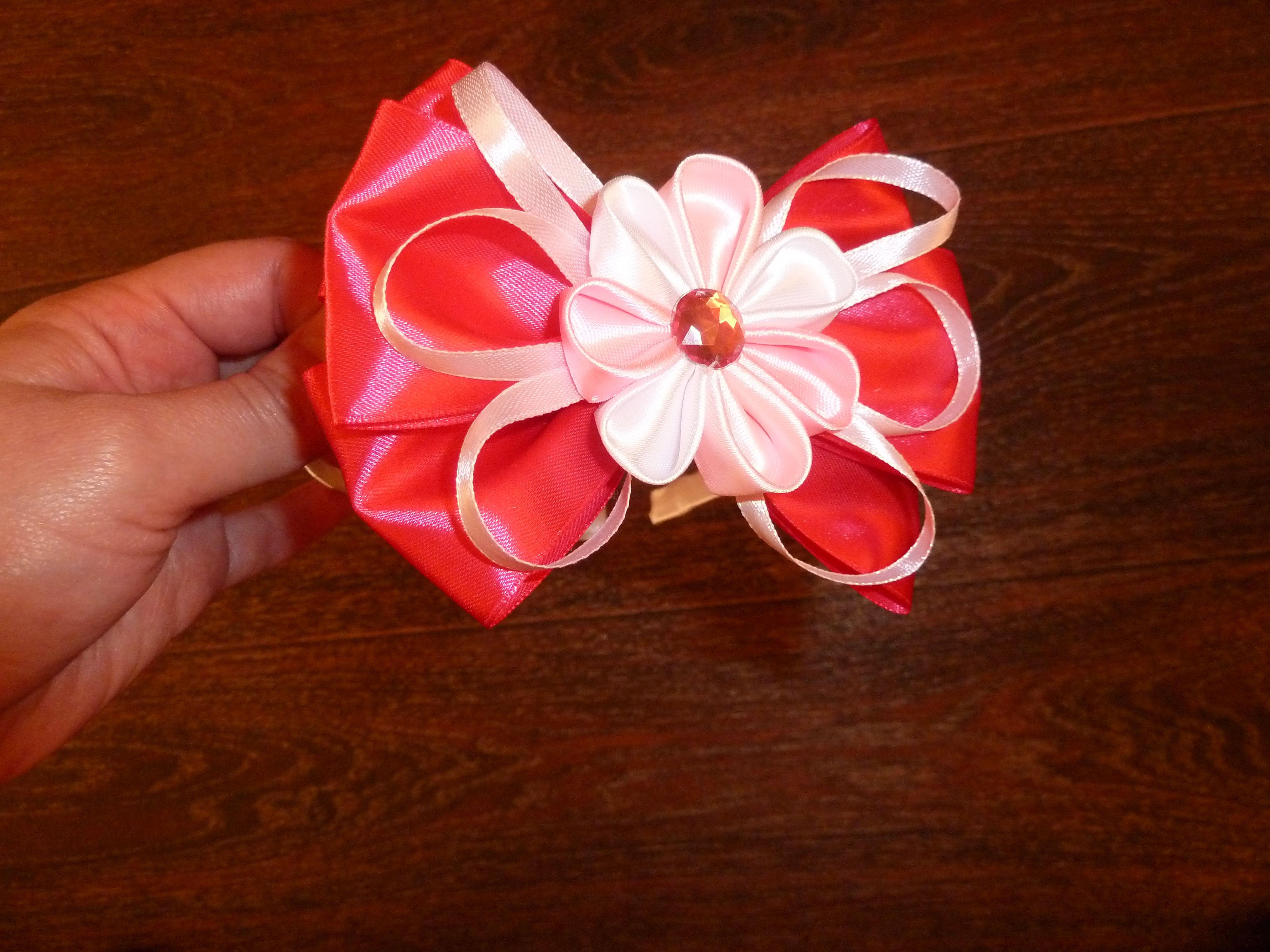 из лент ободок праздник к бант канзаши празднику цветы подарки