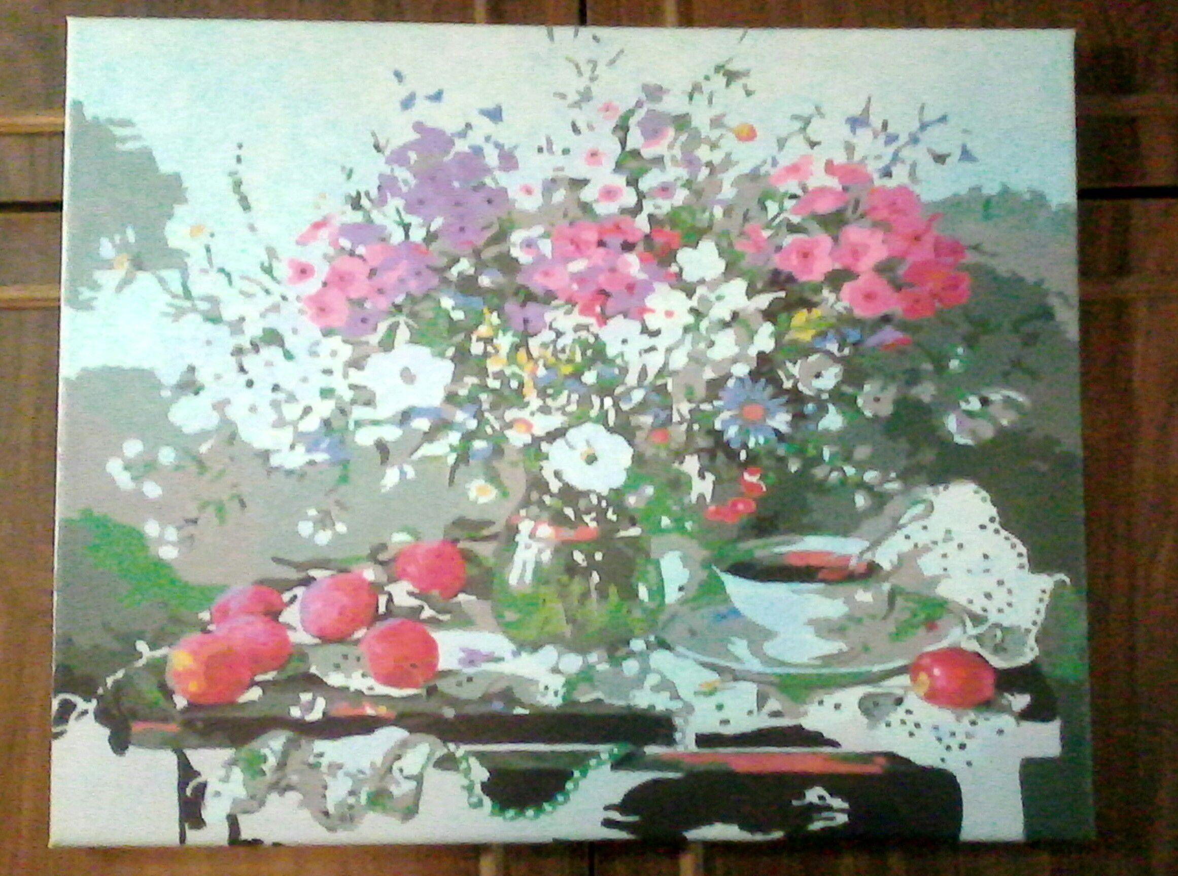 флоксы чай ваза чашка цветы натюрморт колокольчики ромашки