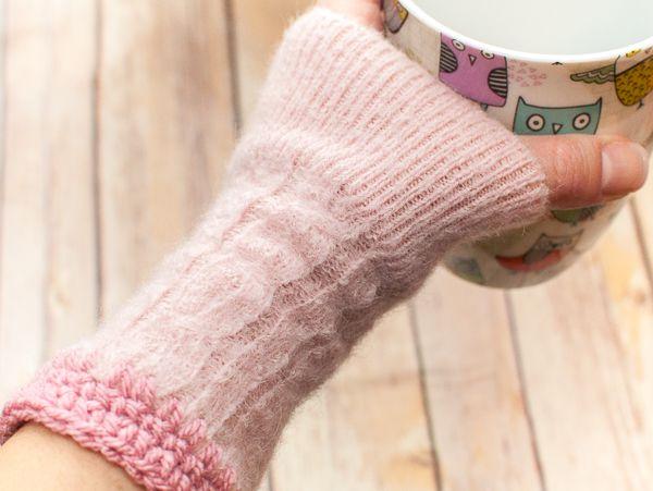переработка свитера митенки из руками своими