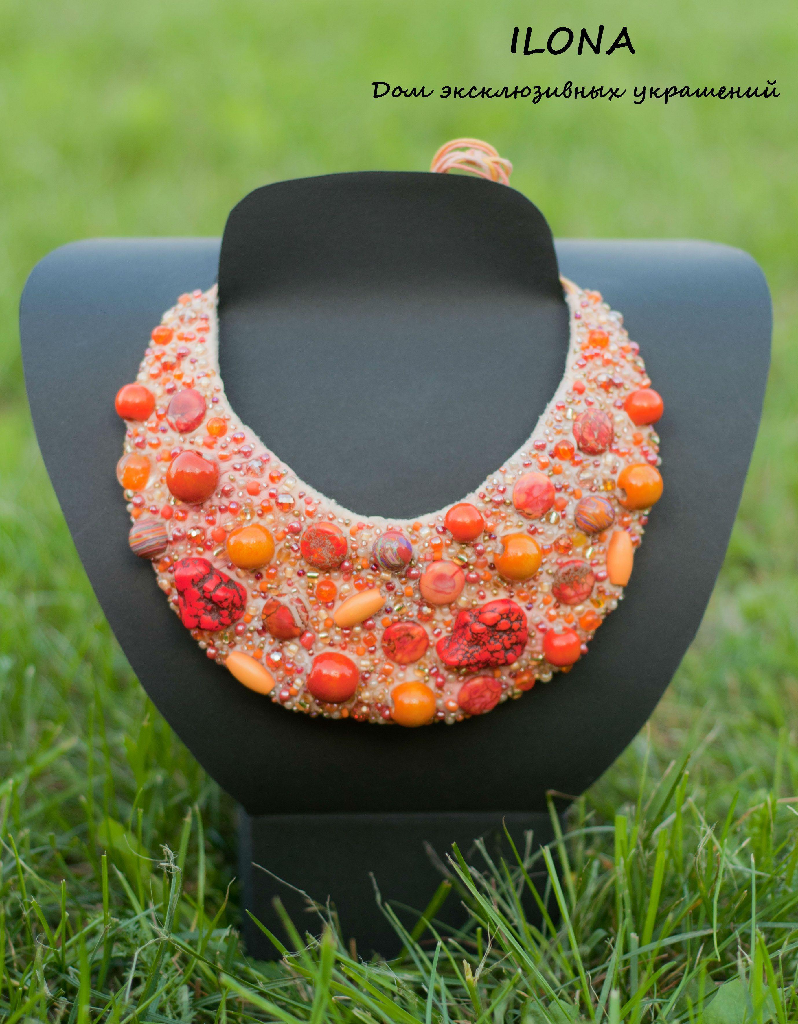 колье бисера камушками расшитое объёмное оранжевое ткани