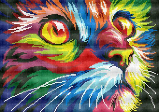 разноцветные подарок картина работа ручная вышивка кошка животные