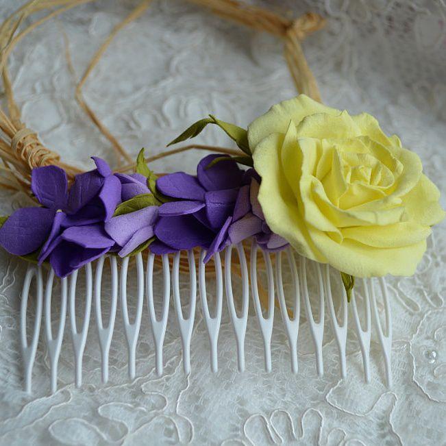 гортензия роза волосы фоамиран желтый свадьба. гребень украшения пенза