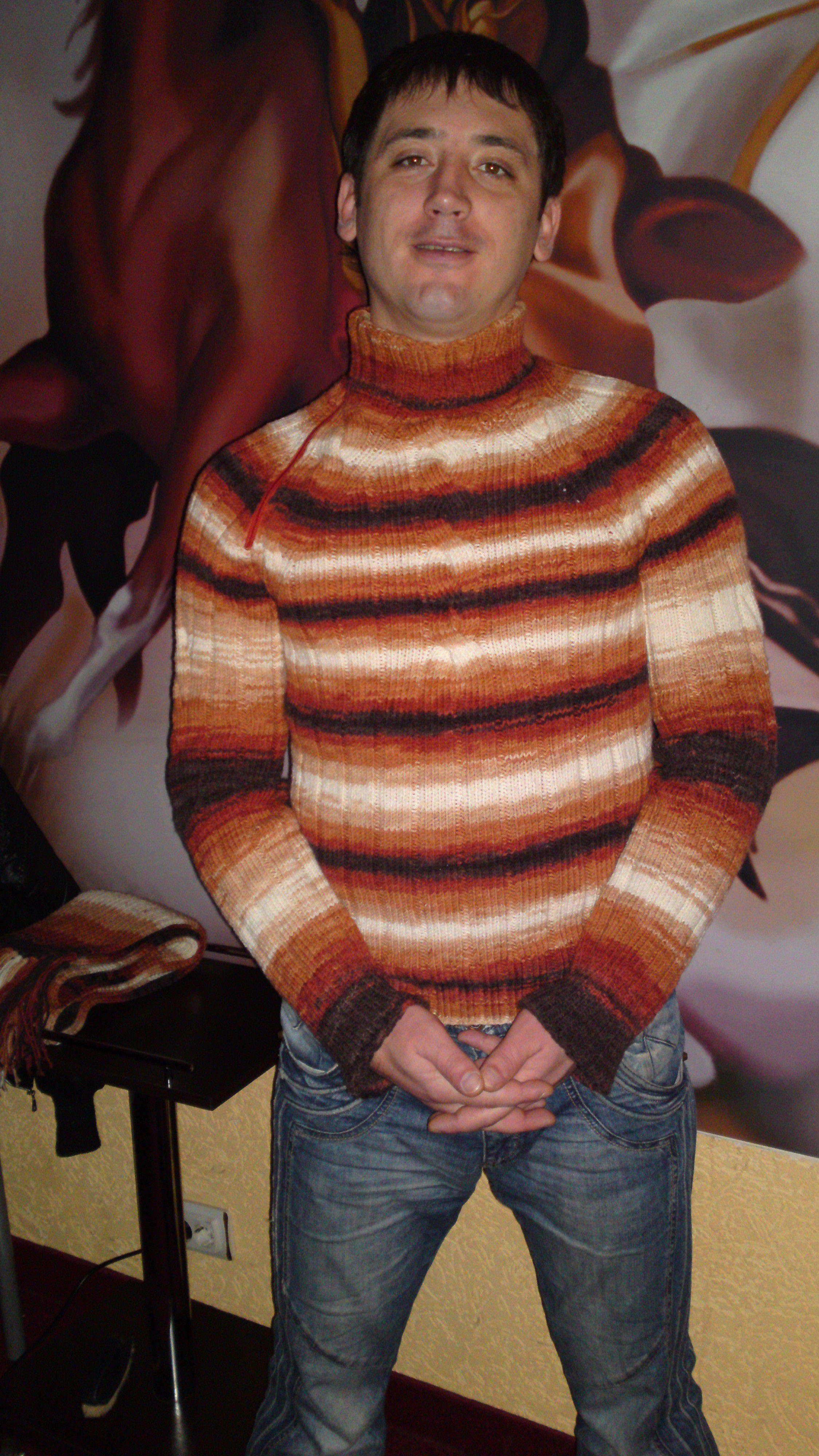 вязание мужской полушерсть спицы. работа осень ручная свитер