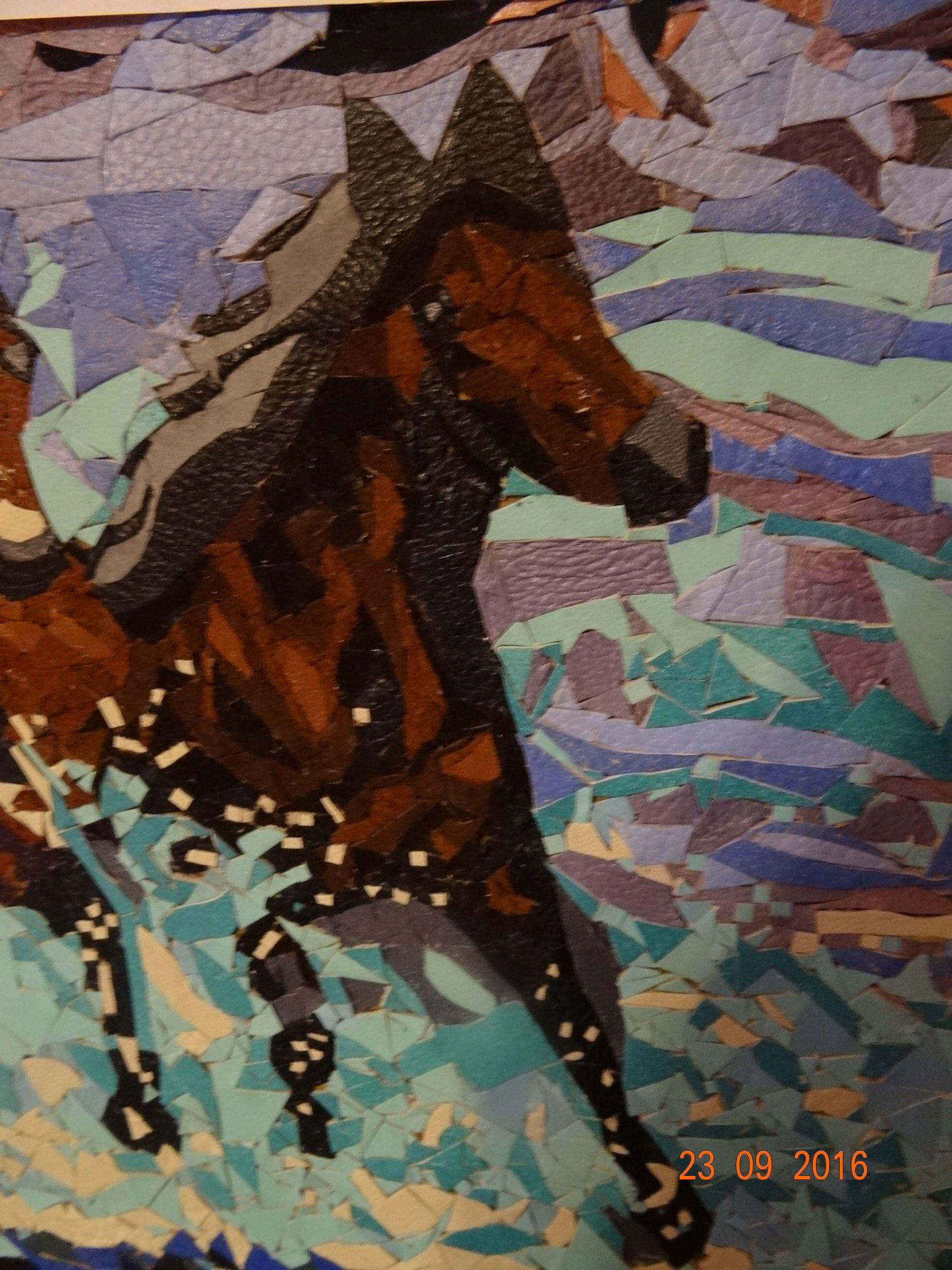 картинаизкожи мозаикаизкожи животные лошади