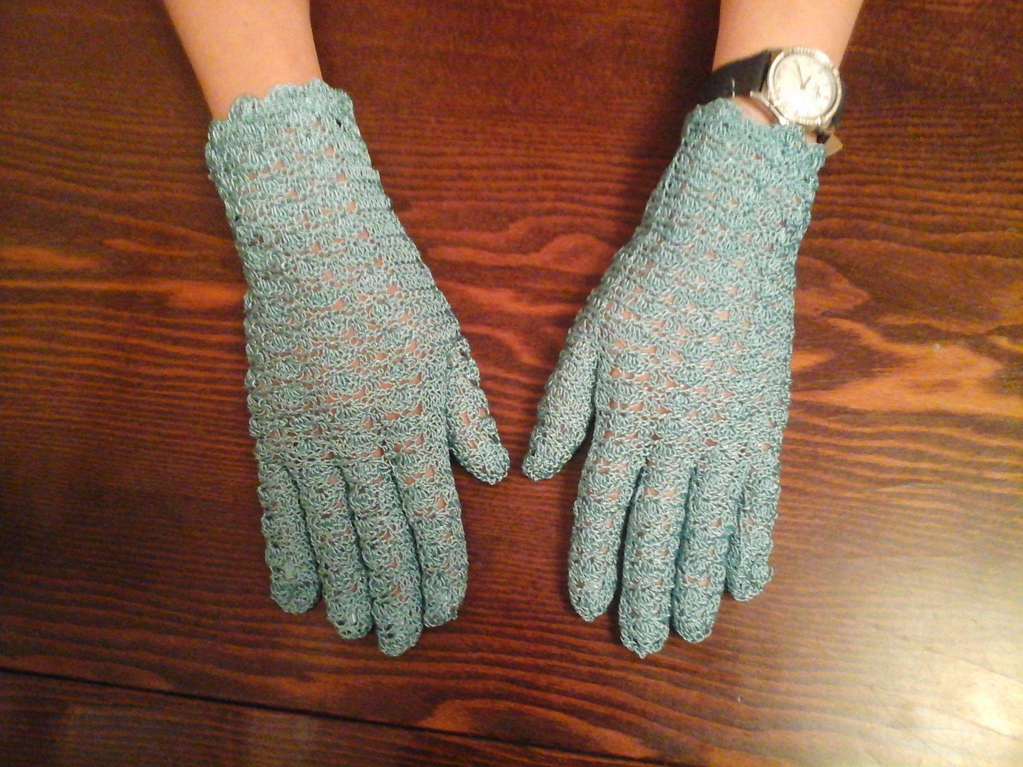 крючком работа handmade перчатки ручная вязание