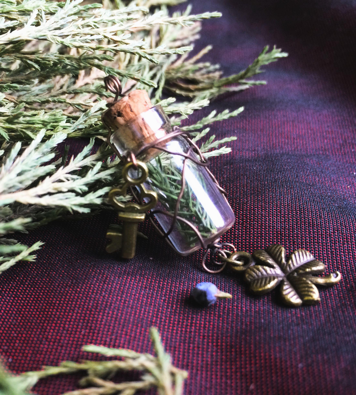 кулон травы подвеска флакон медь сухие