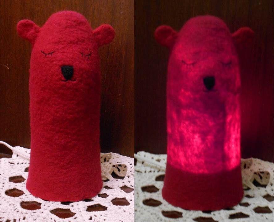 фелтинг ночник светильник красный шерсть суслик лампа