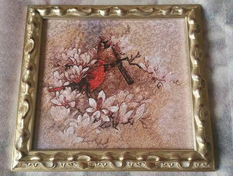 фотостежок багет картинавраме вышивканазаказ машиннаявышивка вышивка птицы картина