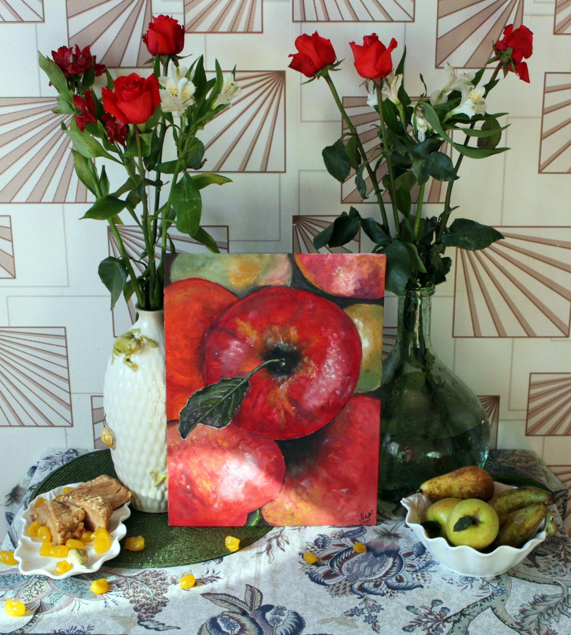подарок картина масло яблоки фрукты натюрморт