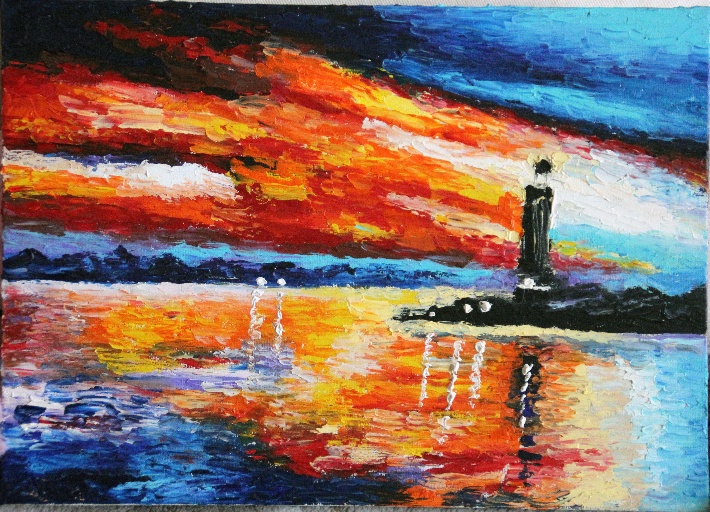 закат маяк абстракция яхта холст живопись море мастихин масло пейзаж