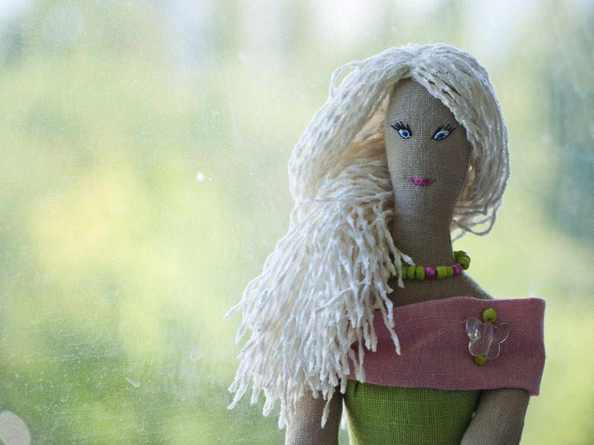 зеленый игрушка кукла розовый цветок мягкаяигрушка тильда блондинка длядевочки подарок интерьернаякукла текстильнаякукла