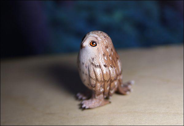 подарок сова акрил птица грусть sculpey