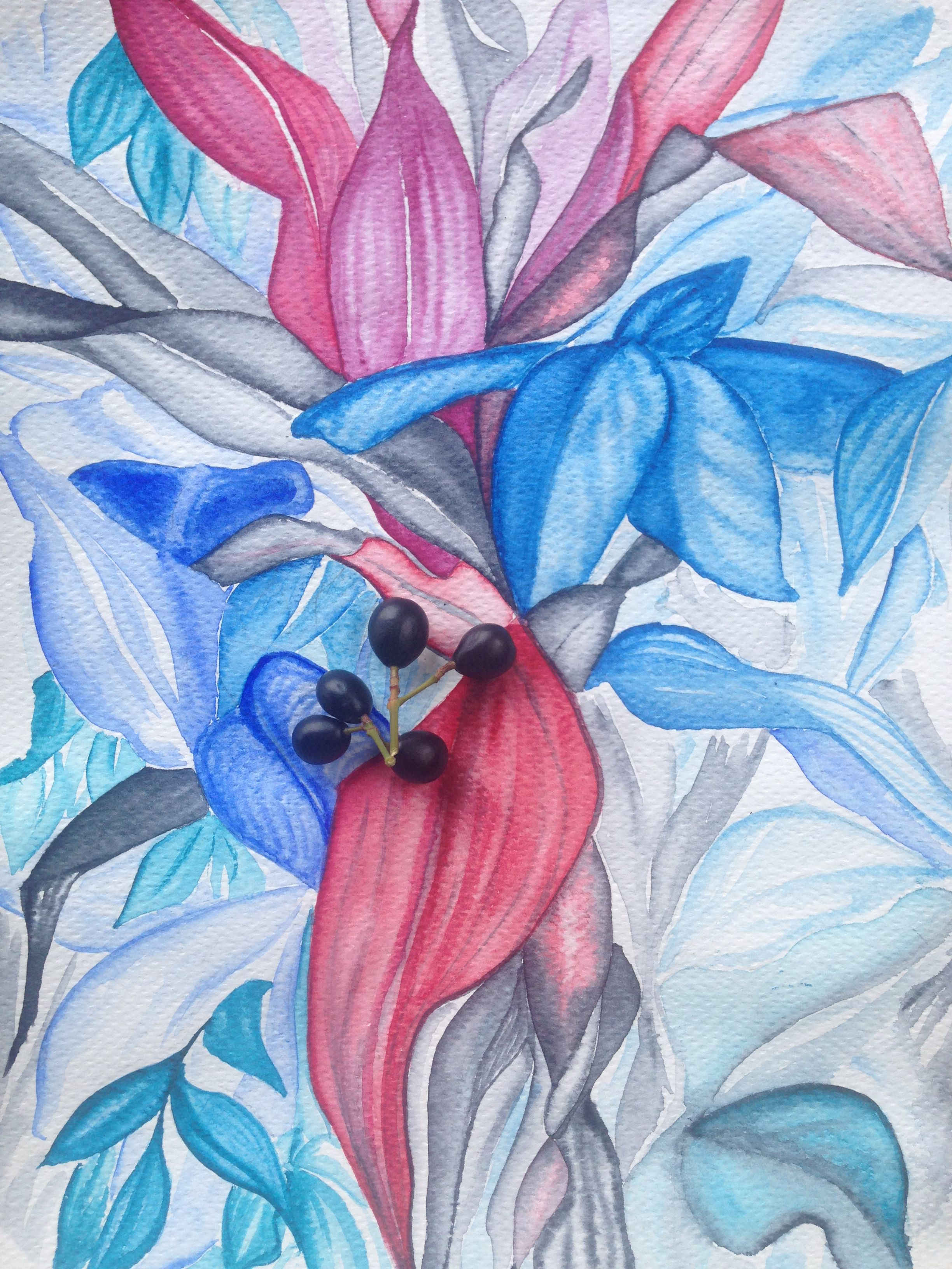 ботаника открытка акварель