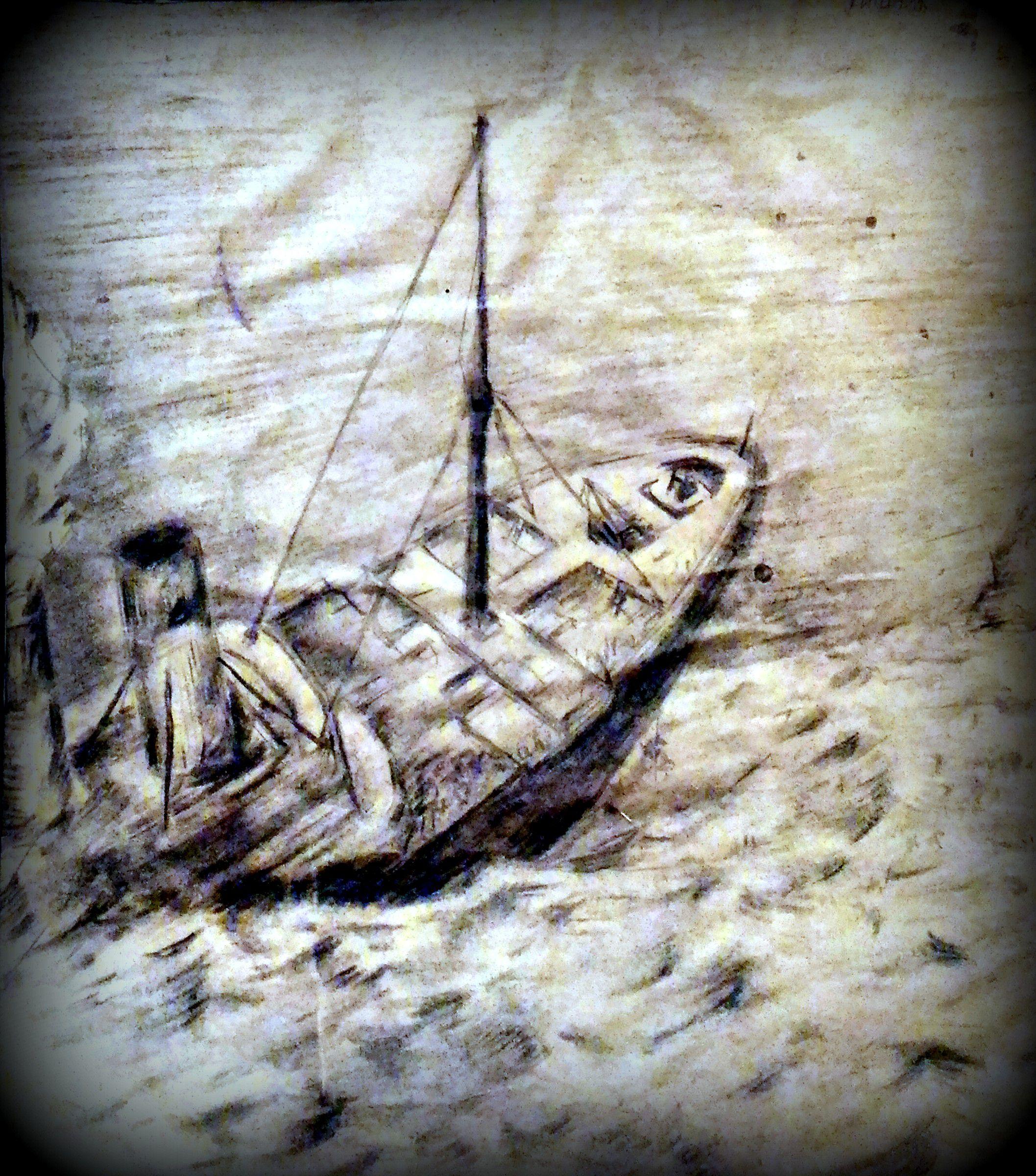 пейзаж морская море морской уголь мягкий рисунок морина караблекрушение шторм карандашем пучина материал