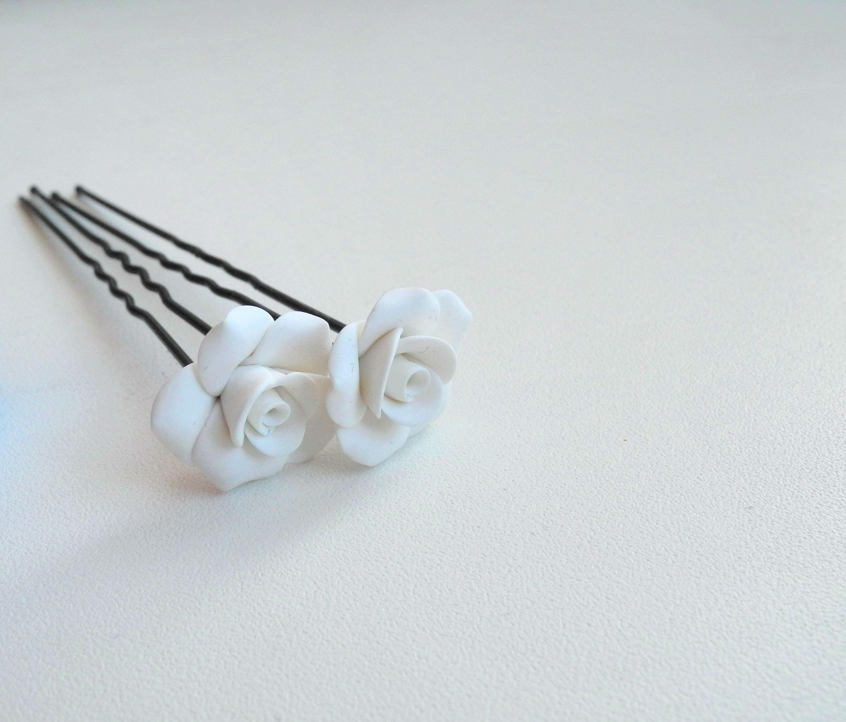 украшениядлясвадьбы заколка proglina украшение подаркиручнойработы белоусоваанна невидимка handmade роза цветы полимернаяглина своимируками