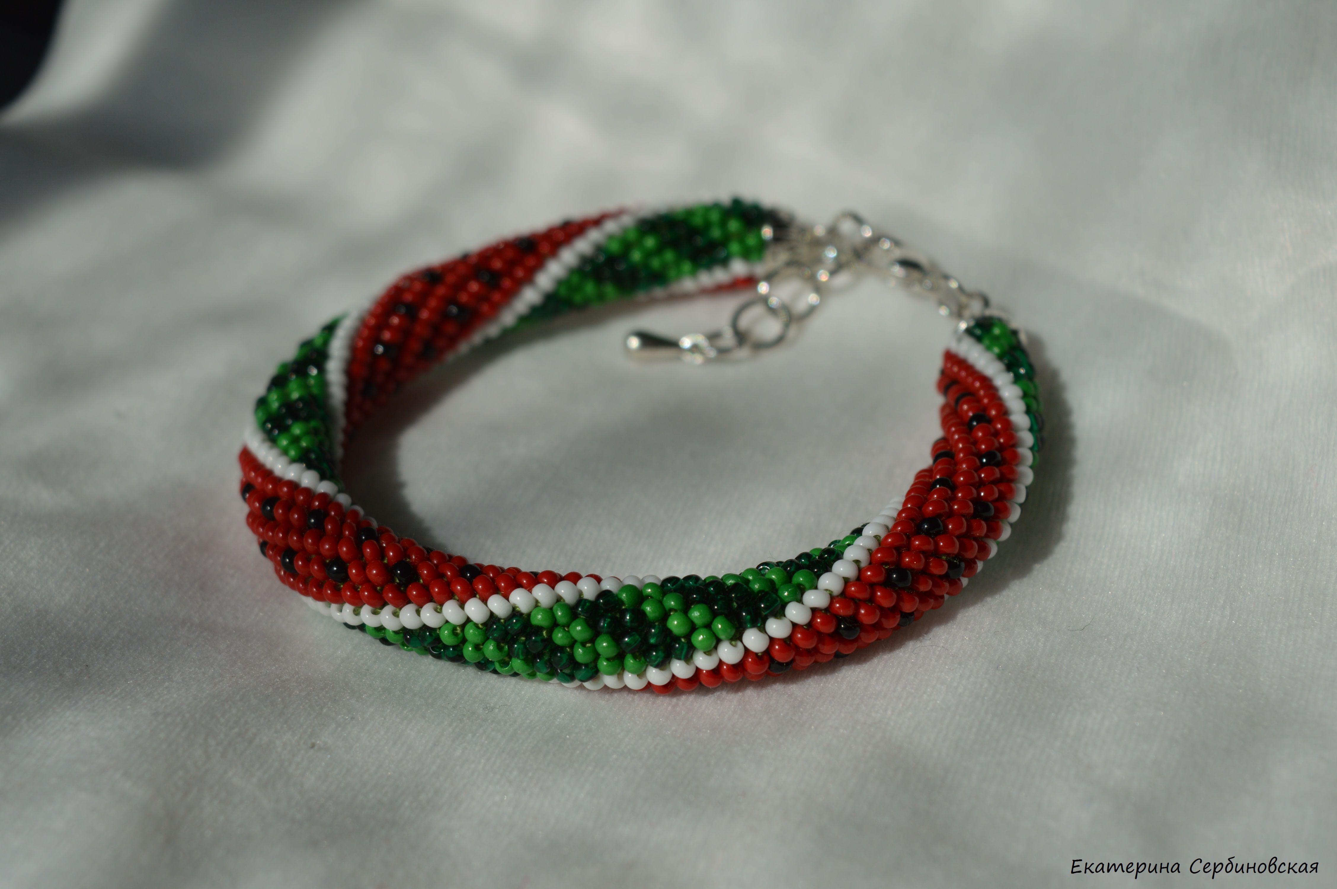 бисерный зеленый бисер браслет украшение красный яркий handmade арбуз