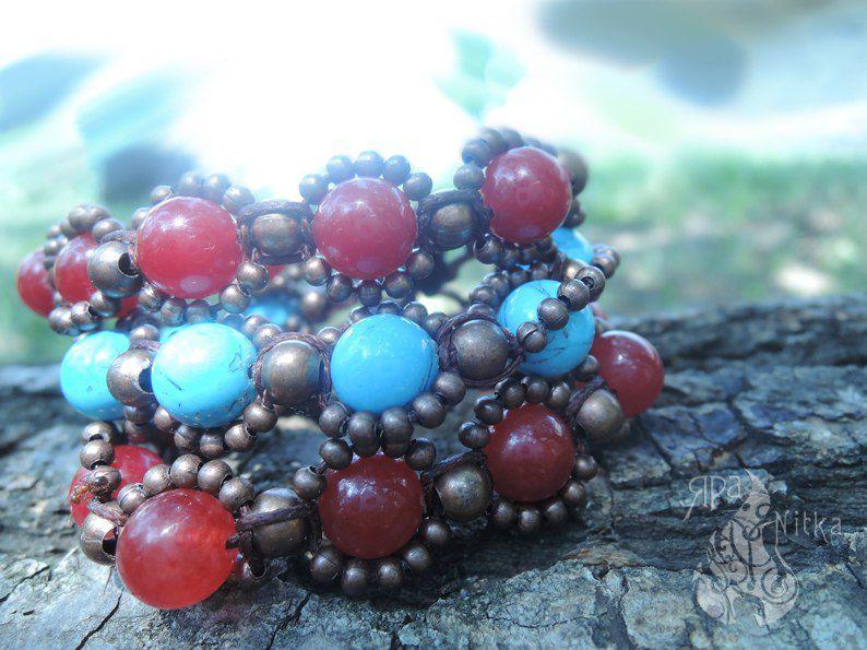 цыганский натуральный бусины оригинальное украшение браслет агат бирюза ручнаяработа эксклюзив бохо этно