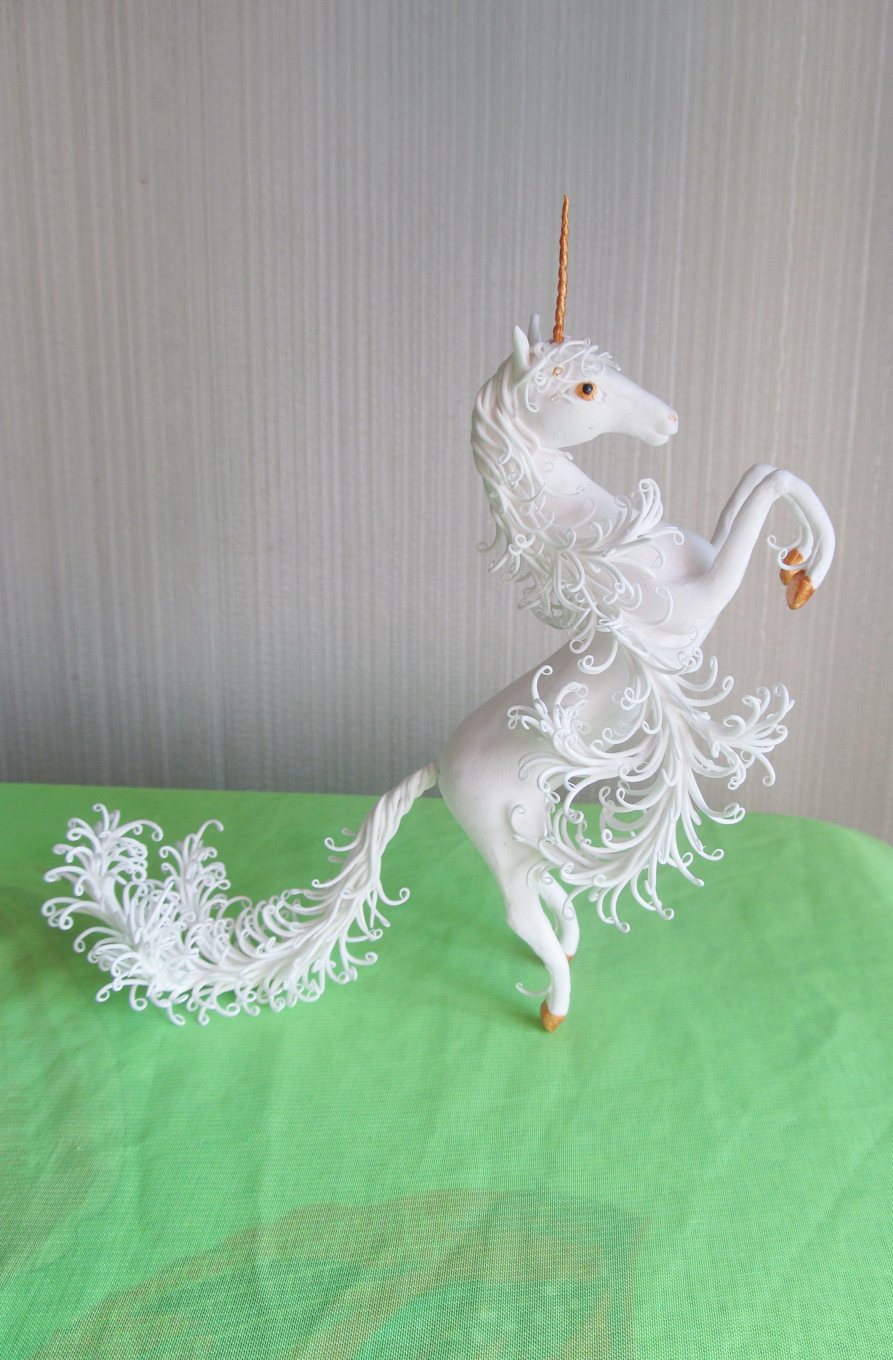 статуэтка конь фигурка единорог лошадь купить белый хендмейд белая подарок