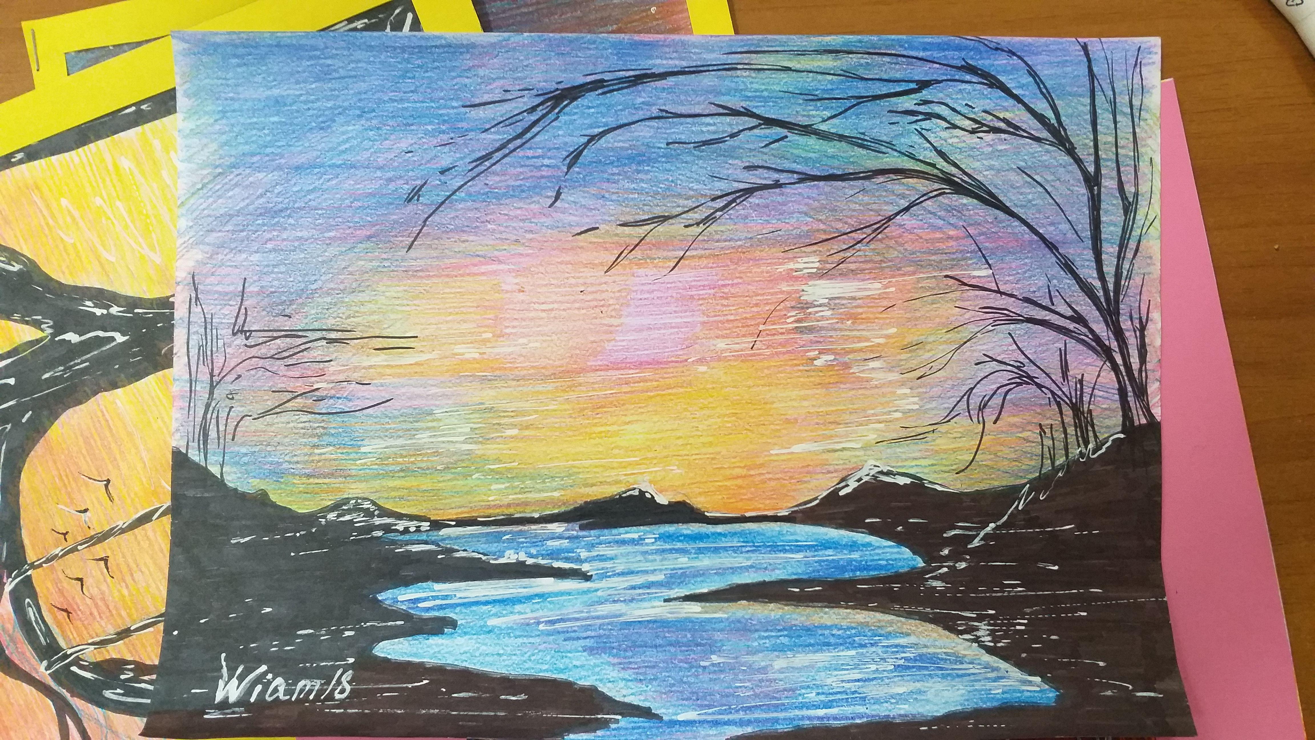 река картина вода рисунок закат карандаши пейзаж цветные