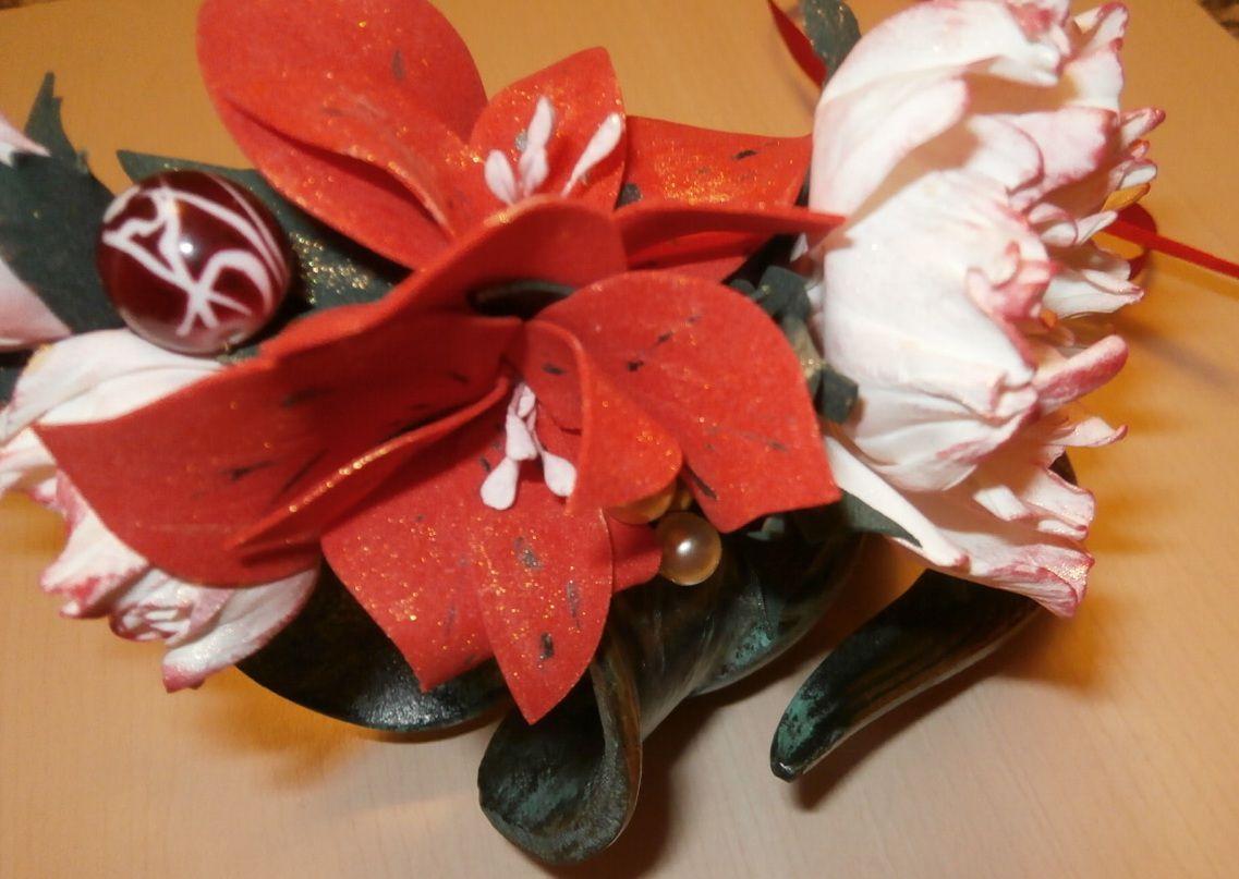 свадьба венок цветы фоамиран волосы пионы бусы