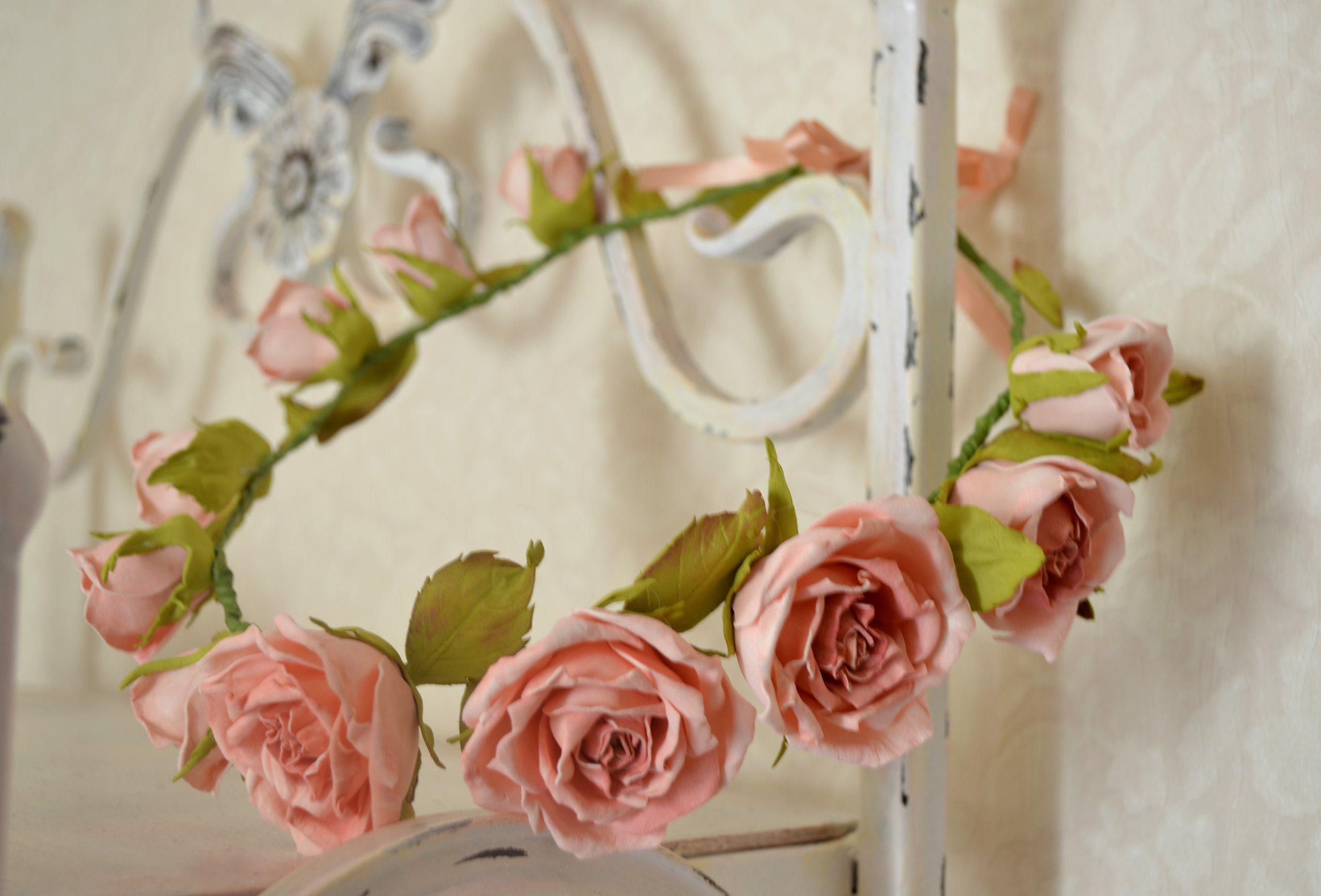 голову фотосессия на украшение фоамиран розы цветы венок нежность реализация.