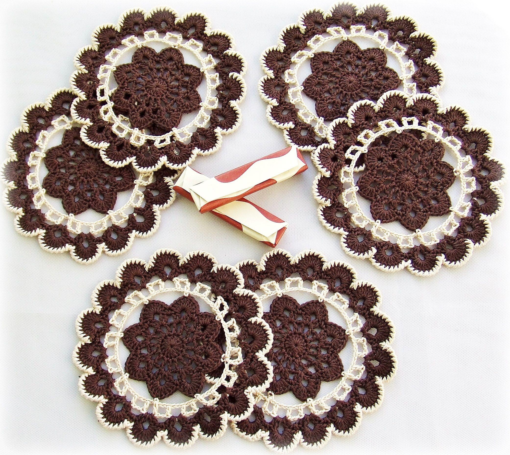 шоколадный под подставки горячее украшение декор вязание крючком подарок весна