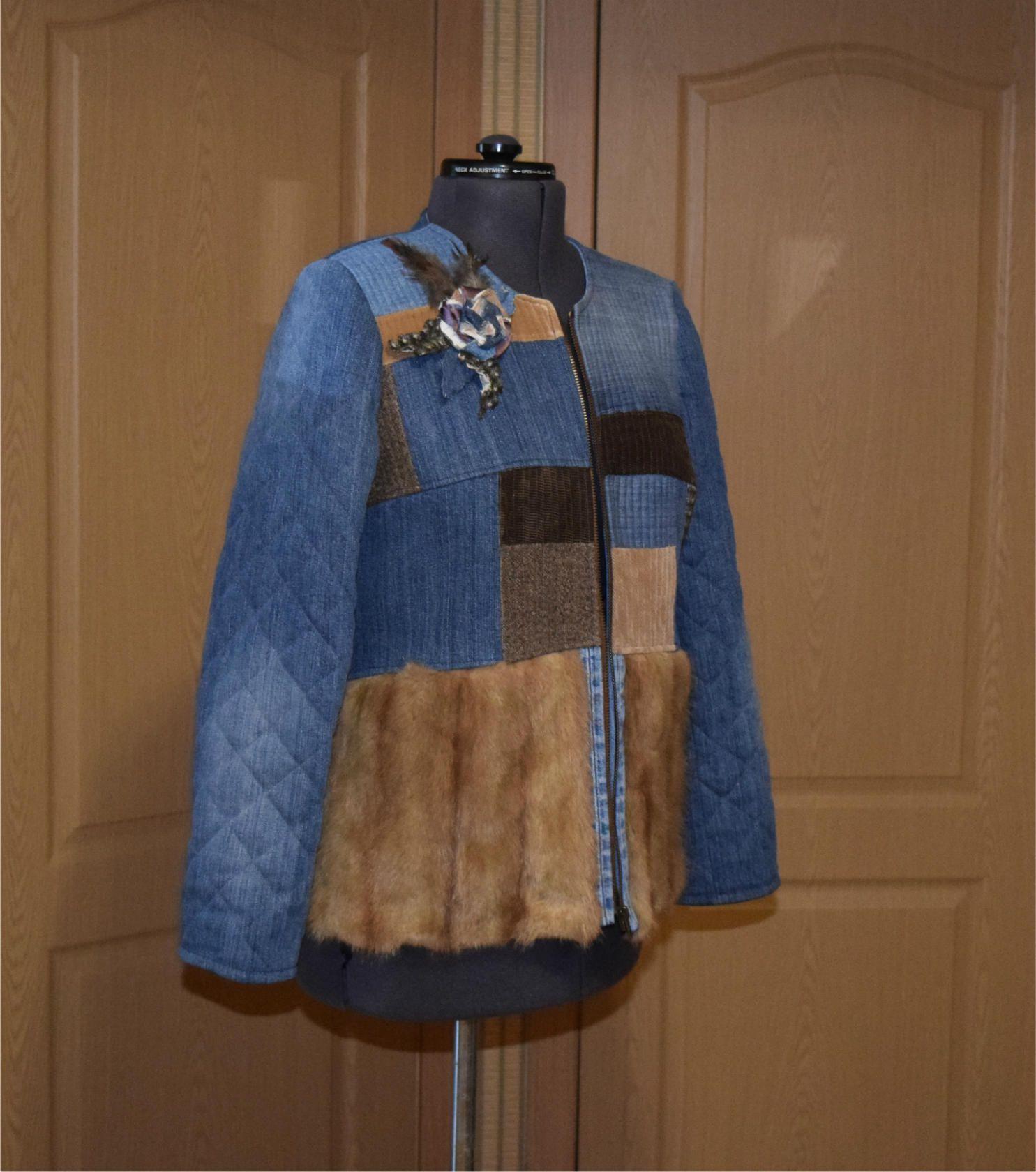 бохо мода джинс купить креатив стиль женский hendmade одежда жакет мехондатры стёжка лоскутноешитьё своимируками