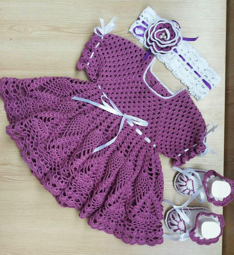 обувь вязание комплект платье длядевочки наряд малышам назаказ головныеуборы крючком ручнаяработа пинетки