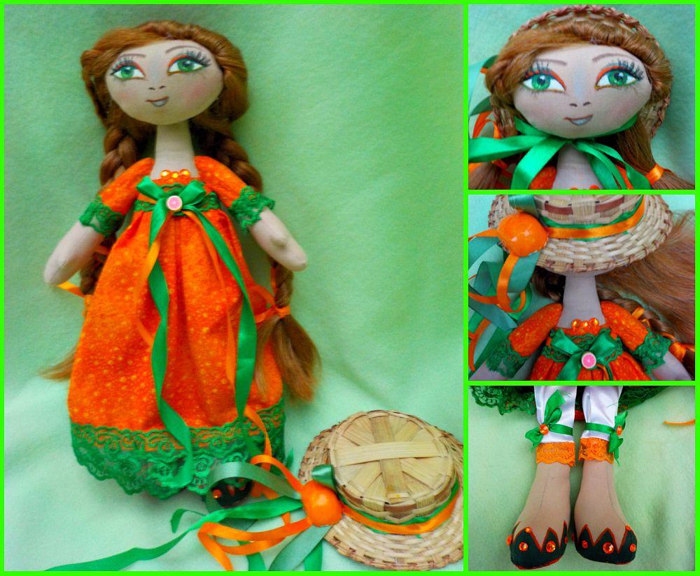 ручной работы оригинальный оранжевый кукла куклы интерьерная апельсин подарок