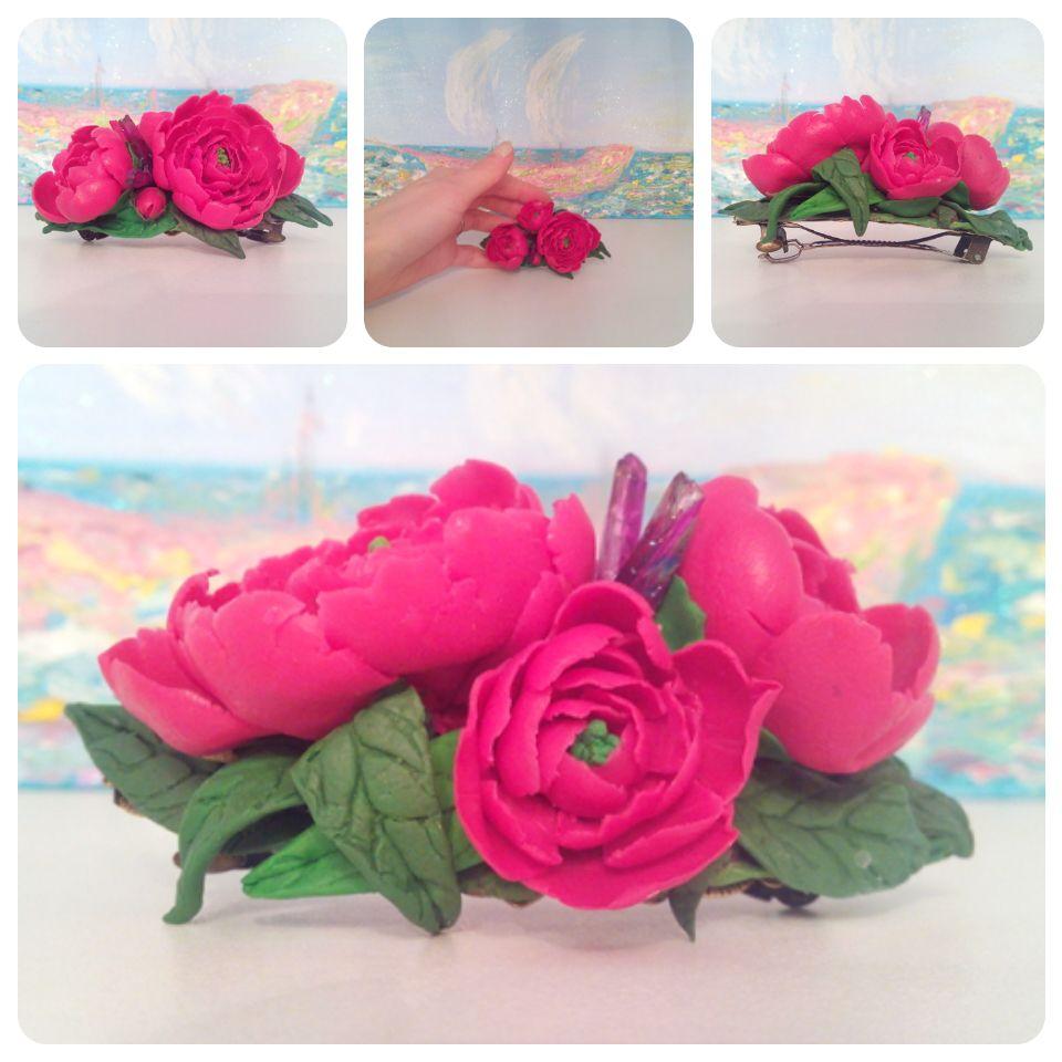 украшения заколка пионы полимернаяглина цветы