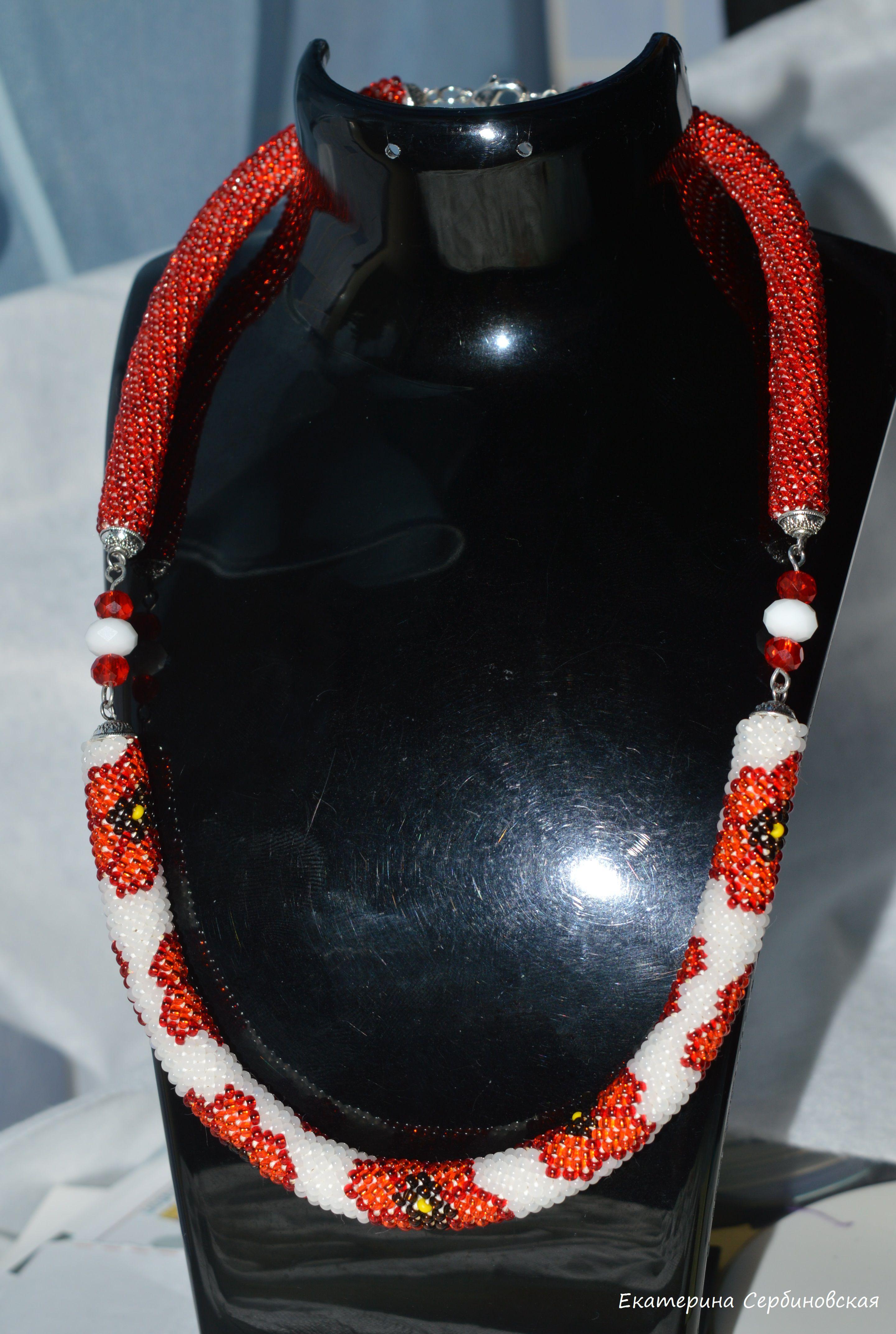бисерный белое мак маки украшения бисер handmade ручная жгут необычное колье красный красное