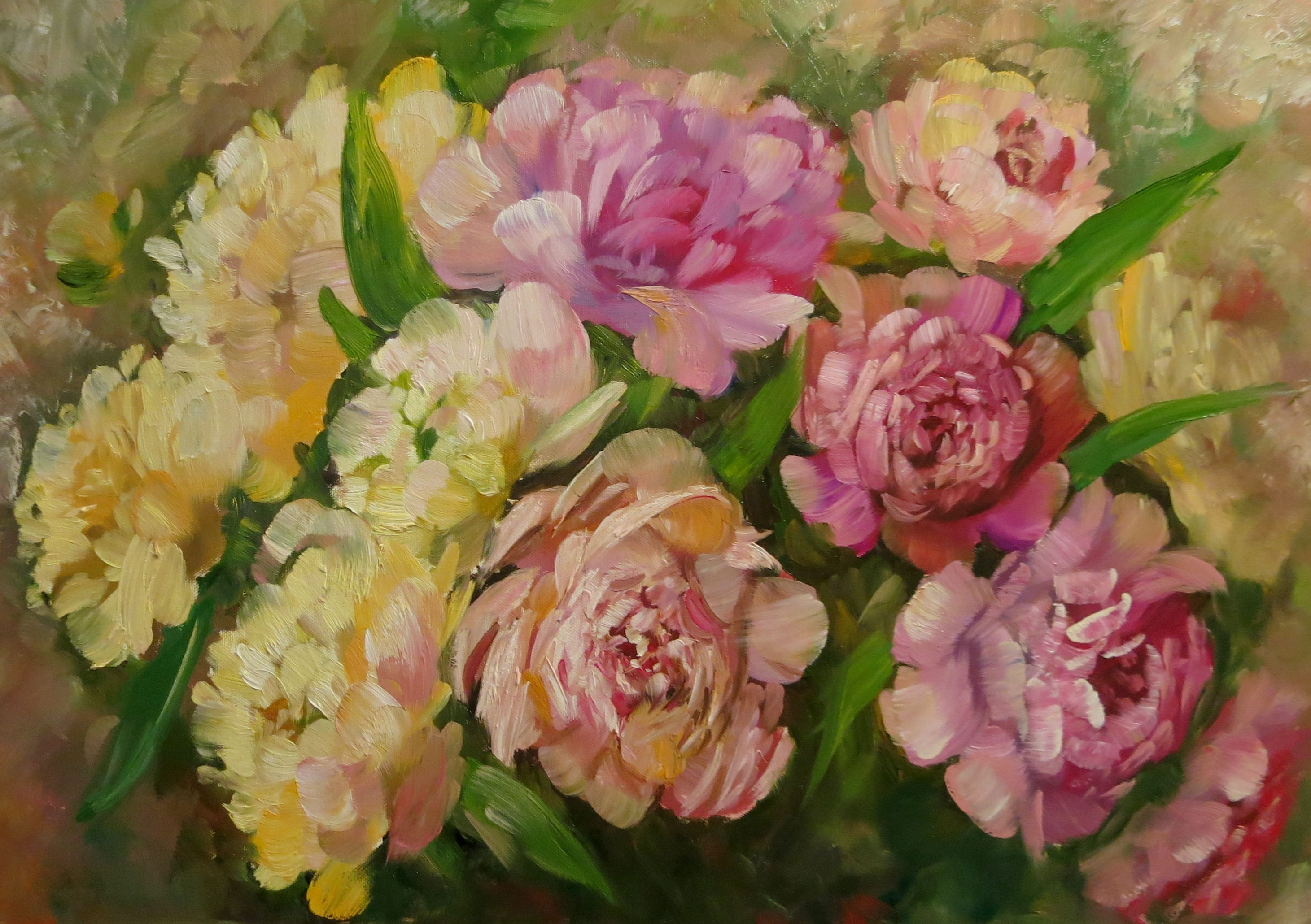 маслом интерьера картина дома цветочная для украшение души пионы живопись