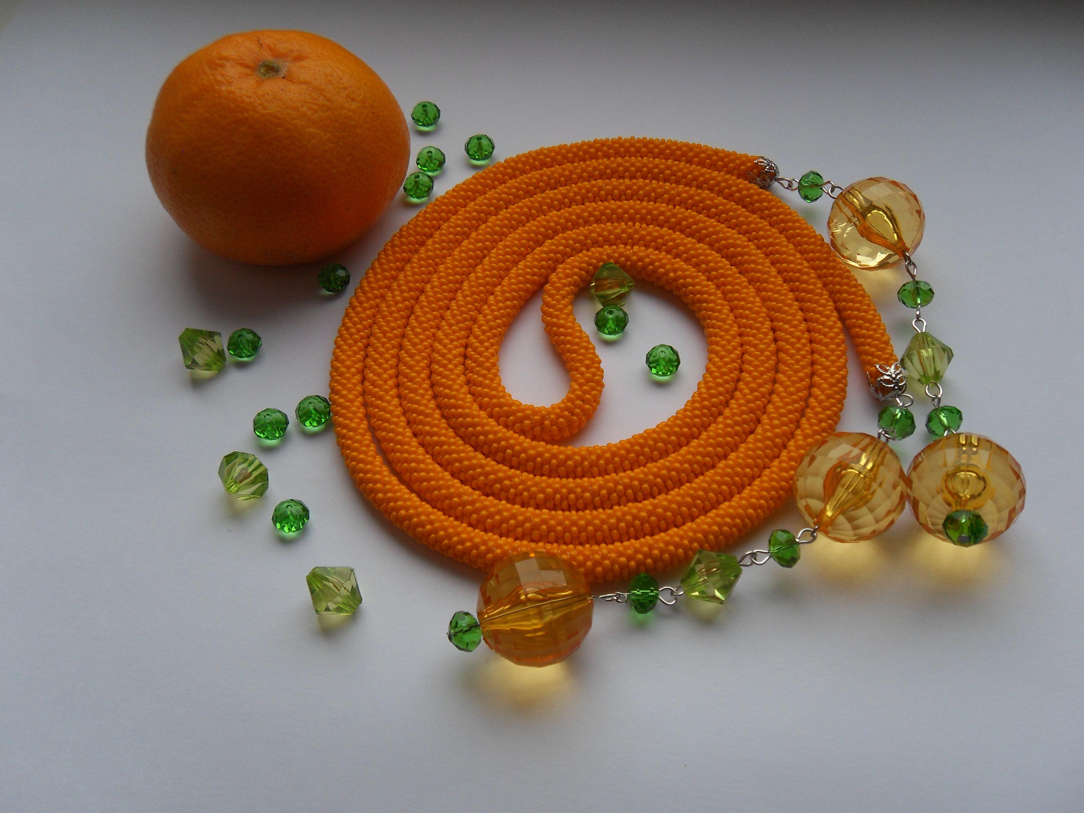 бисер купить жгутизбисера лариат украшение аленаэир оранжевый вязаныйжгут