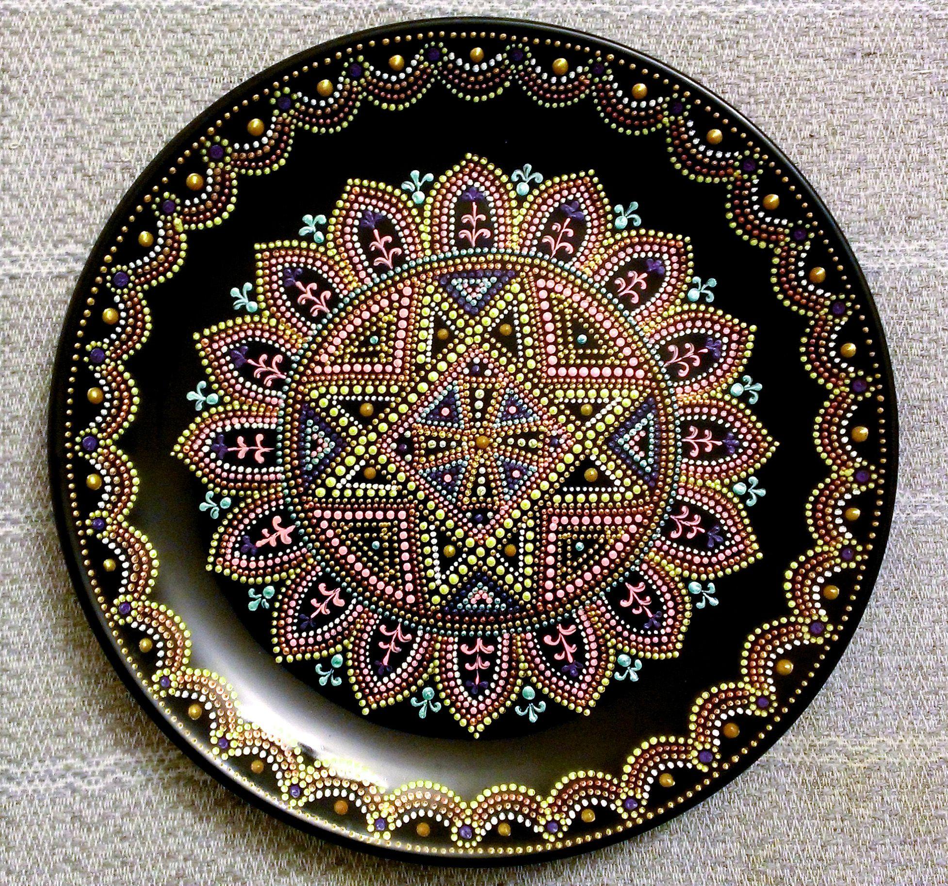 ручнаяработа мальта восточныеузоры декоративнаятарелка декор точечнаяроспись тарелка handmade подарок