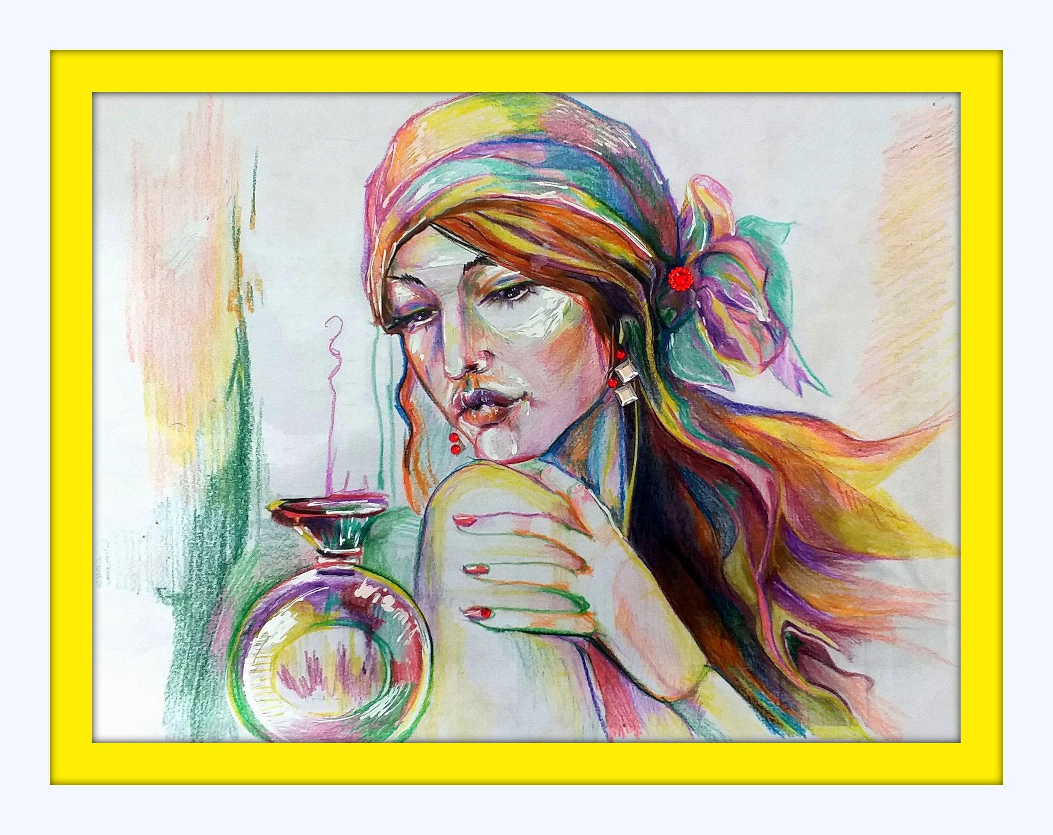 стразы духи девушка картина техника акварельная модель искусство современное