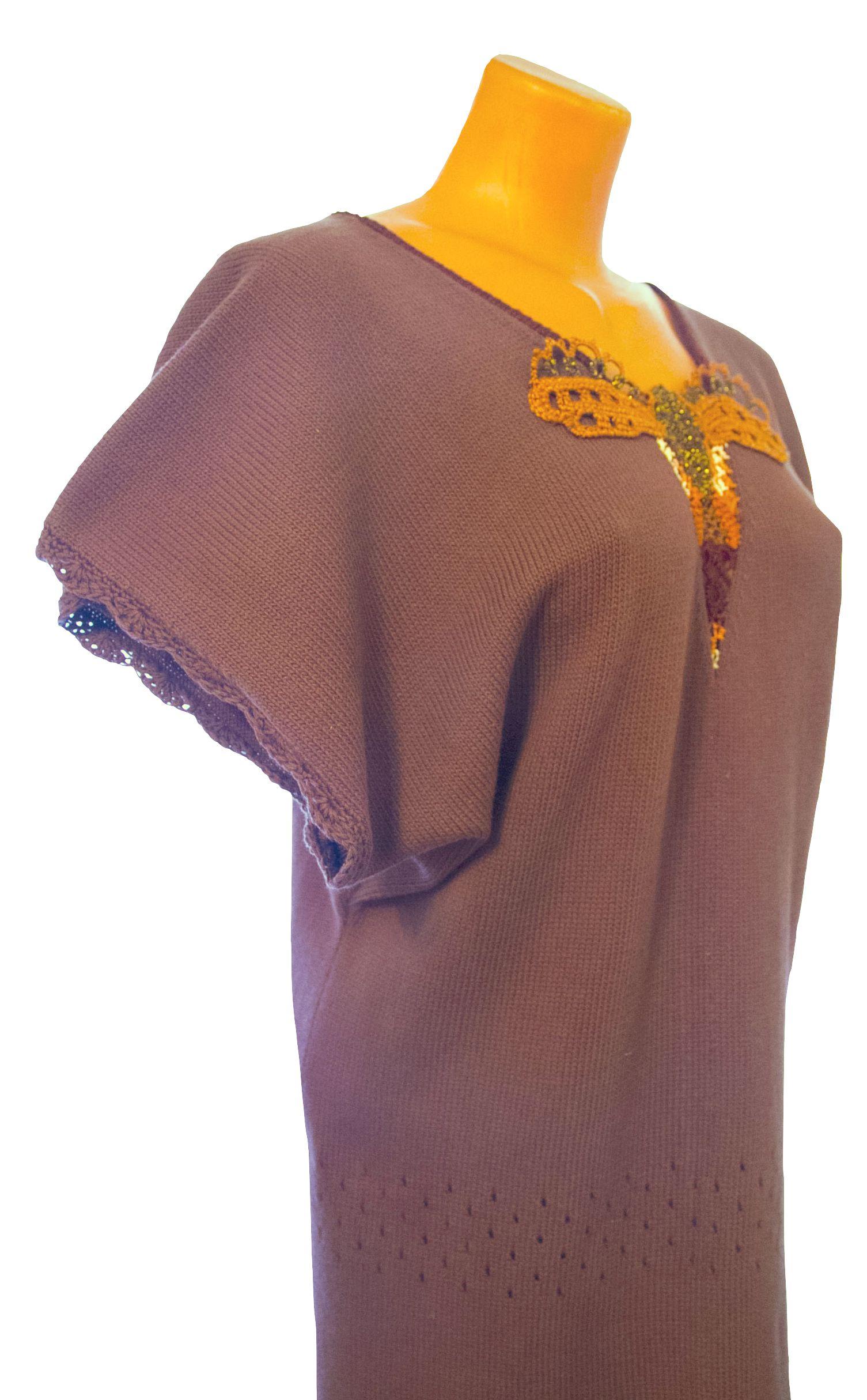 летняя вязаная туника авторский коричневый дизайн рисунок