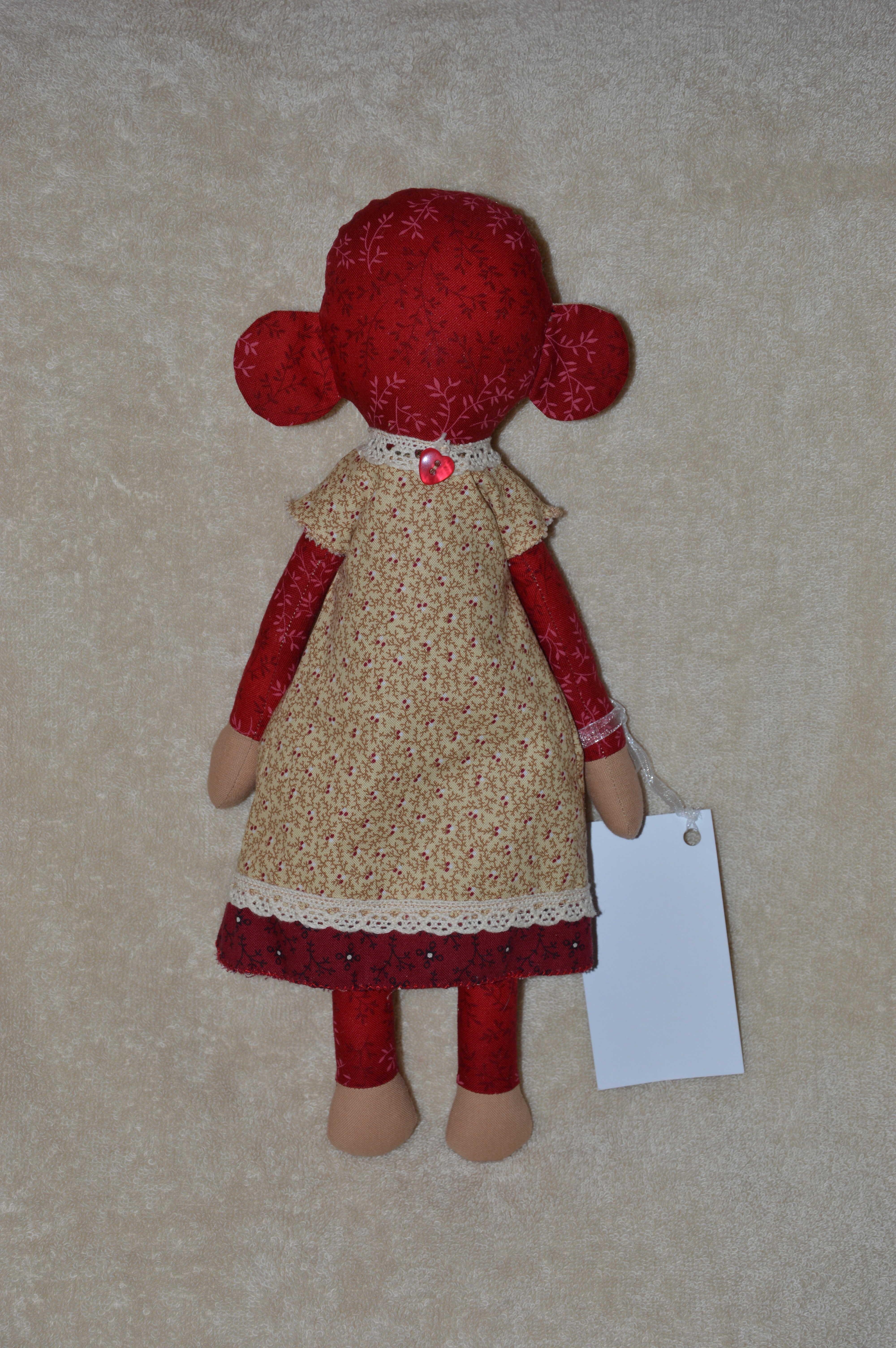 интерьерная обезьяна игрушка кукла пермь год новый красный стиле тильда подарок обезьянка в текстильная