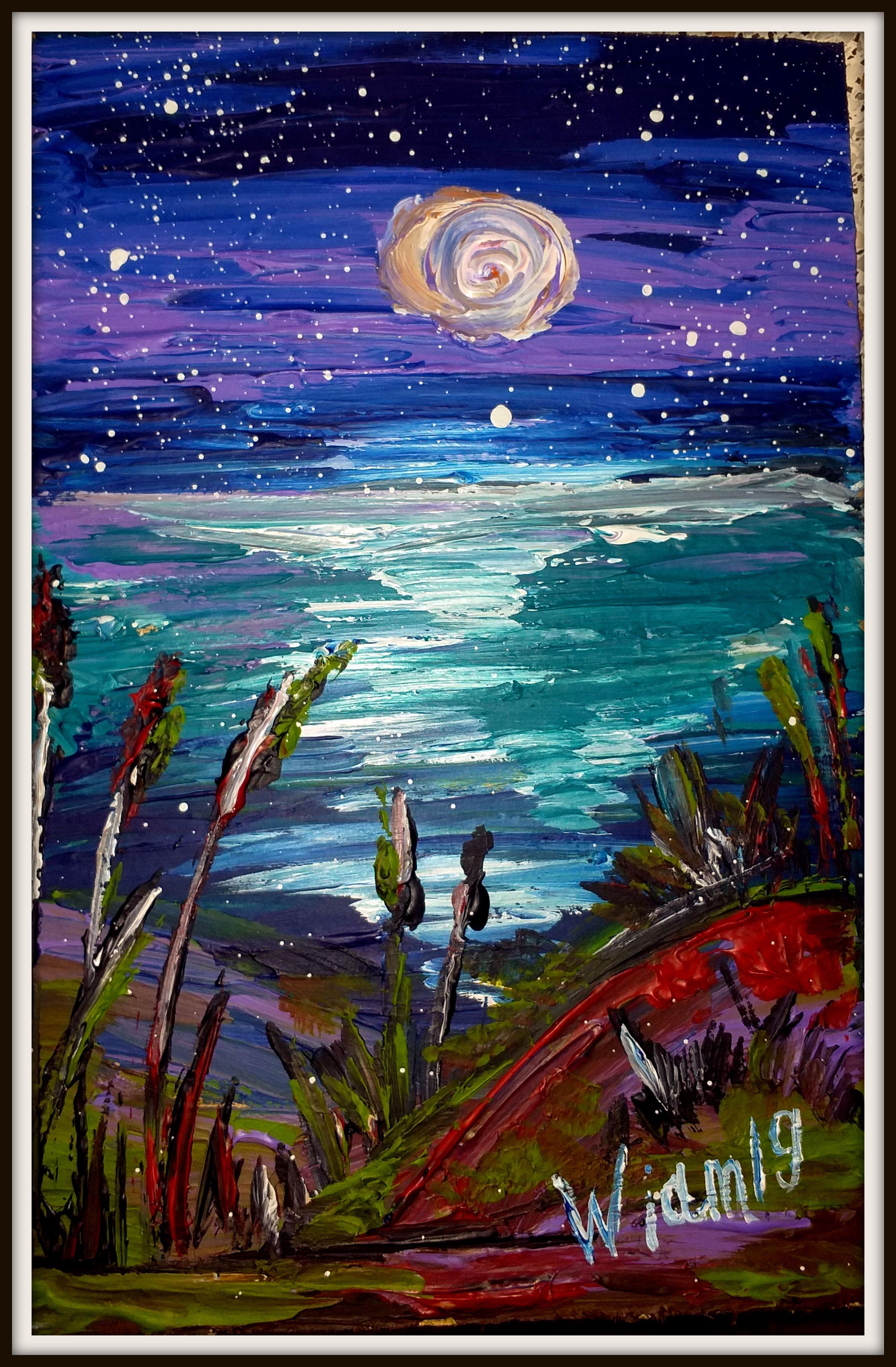 река луна вода звезды ночной акрил живопись пейзаж