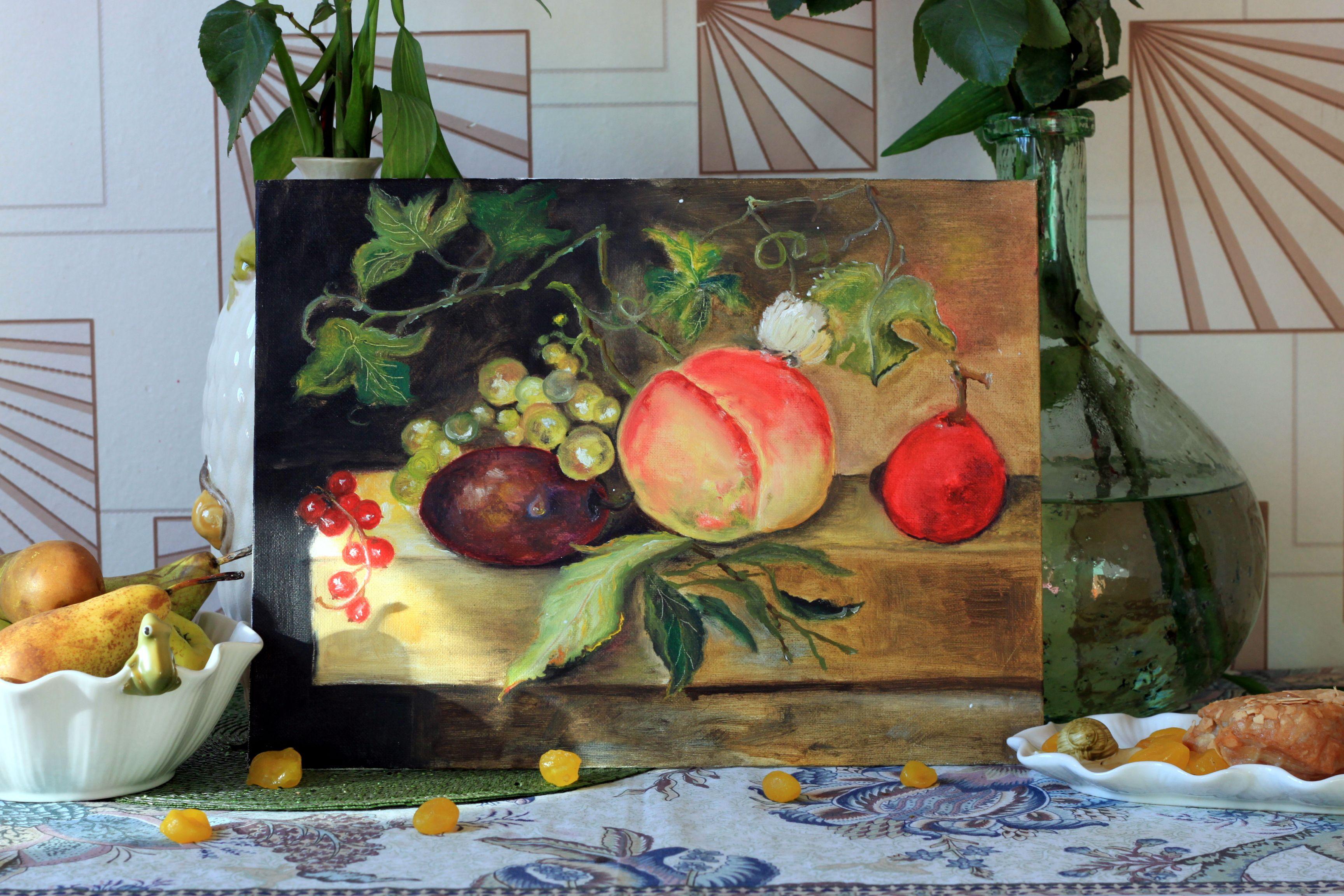 виноград масло фрукты натюрморт персики холст