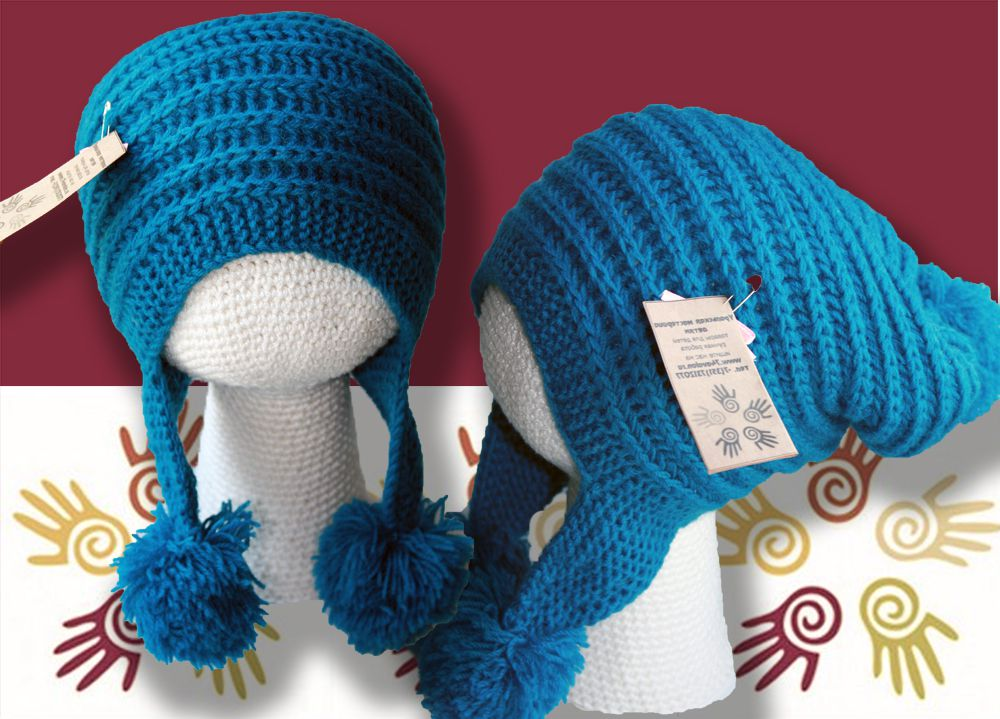 шапки детские купить детская с продажа шляпы ручная шапка связанное темно-бирюзовая помпонами шапка-ушанка аксессуары детям шапочка работа и помпон спицами