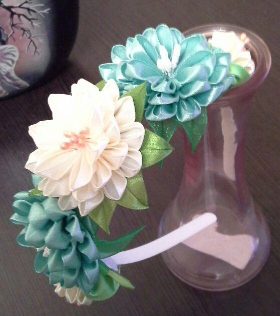ручнаяработа подарок ободокдлядевочек аксессуарнаголову канзаши ободоксцветами