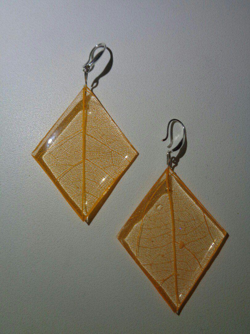 эпоксиднаясмола эпоксидная серьги смола лист изсмолы скелетированный оранжевые сережки украшения бижутерия