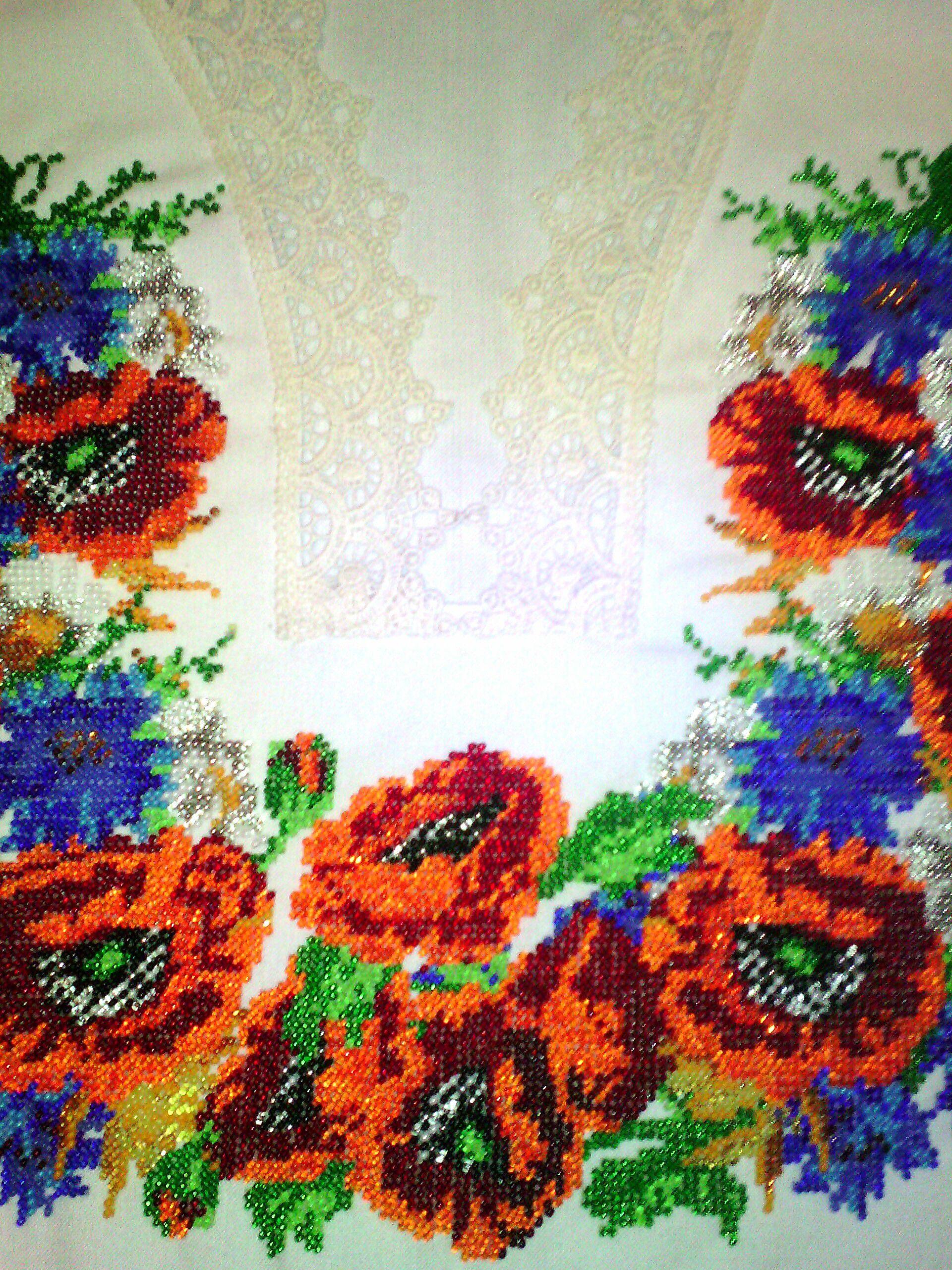 подарок вышиванка васильки блузка чешский бисер женщине маки