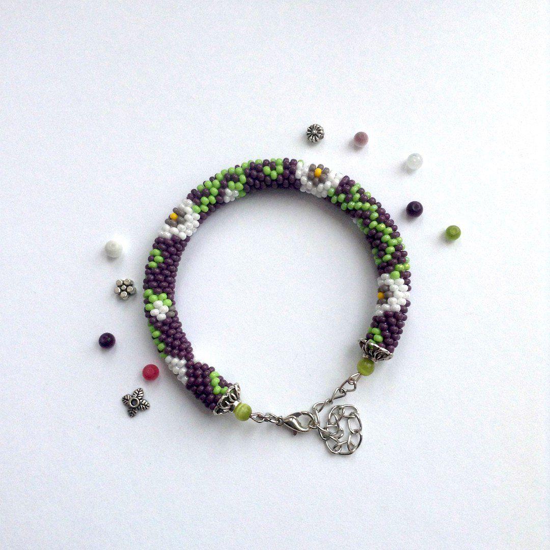 бисер браслет украшение handmade цветы крючком бижутерия