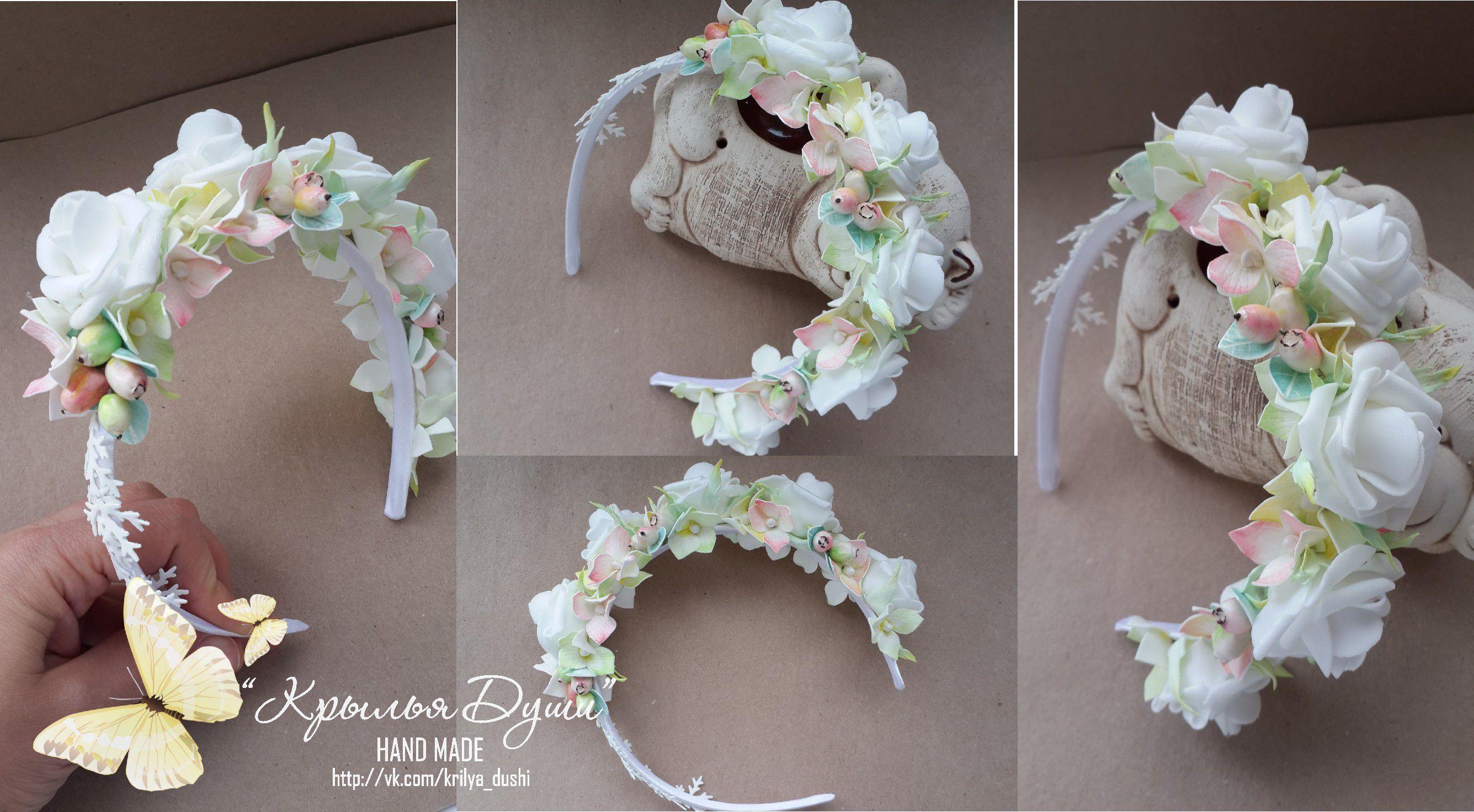 волос украшение фоамиран ободок ручная для работа цветы роза