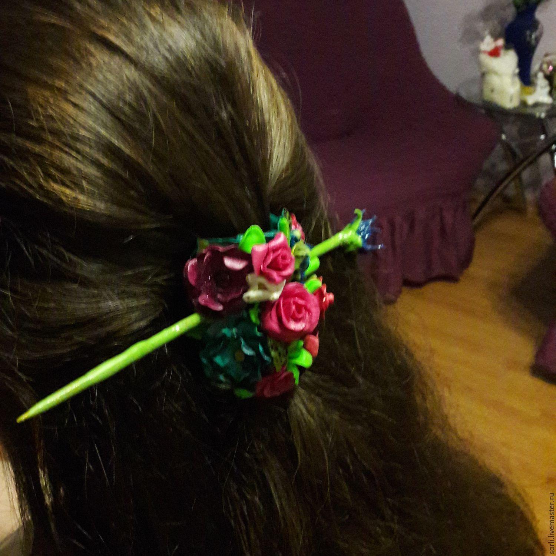 полимерная глина работа заколка ручная украшение для волос хендмейд цветы